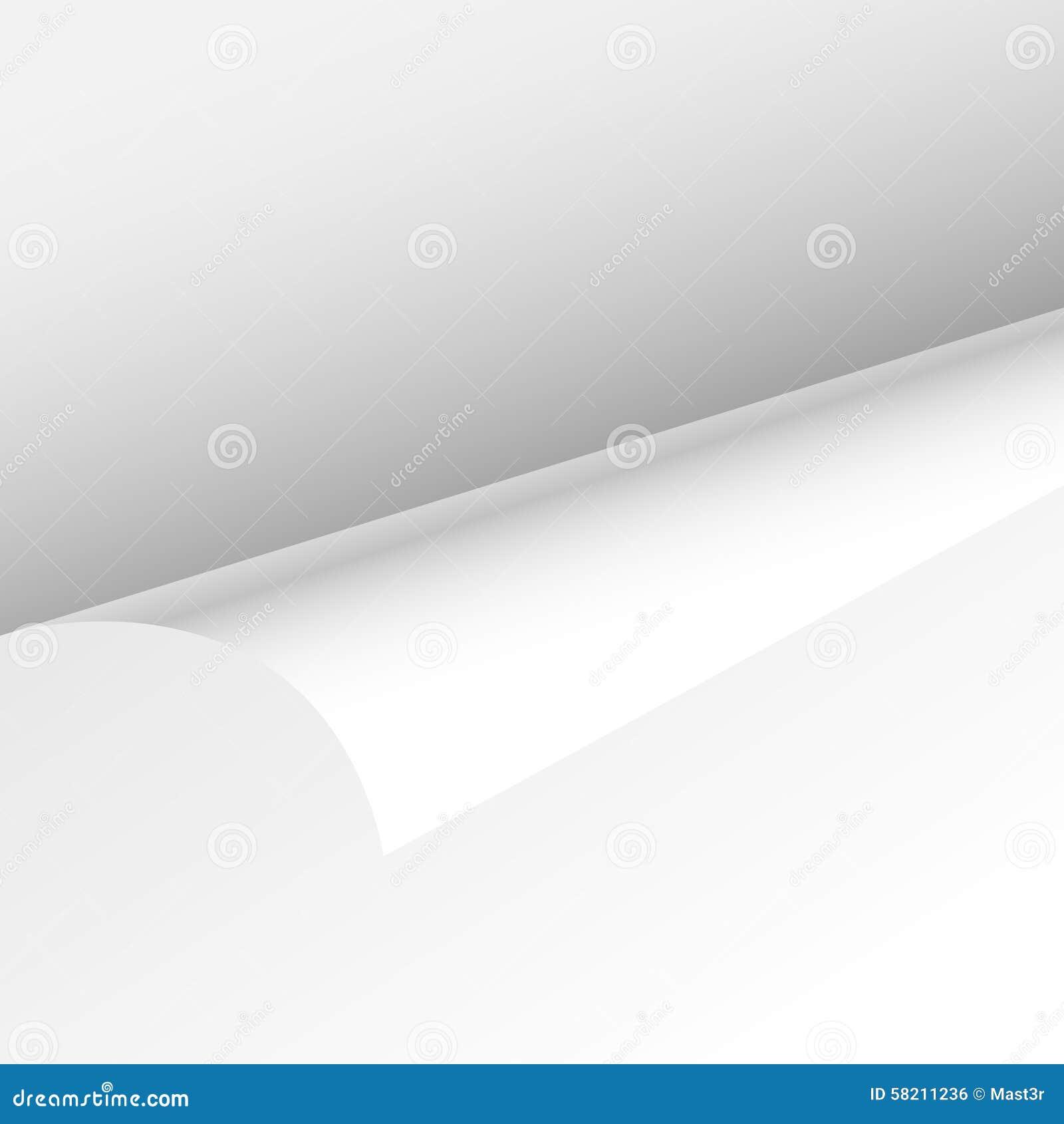 Esquina del rizo de la hoja del papel en blanco, curva vacía de la página