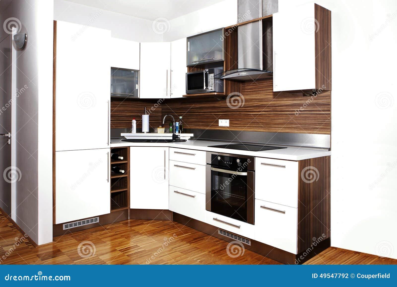 Esquina entera de la cocina moderna foto de archivo - Cocinas en esquina ...