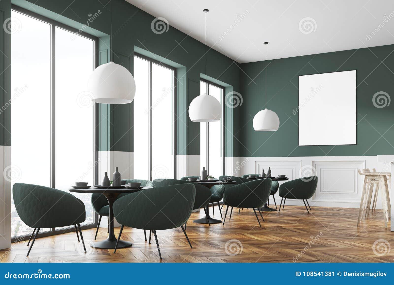 90c5b3902129 Esquina gris y blanca moderna del café con un piso de madera y sillas gris  oscuro cerca de las mesas redondas Un cartel mofa de la representación 3d  para ...