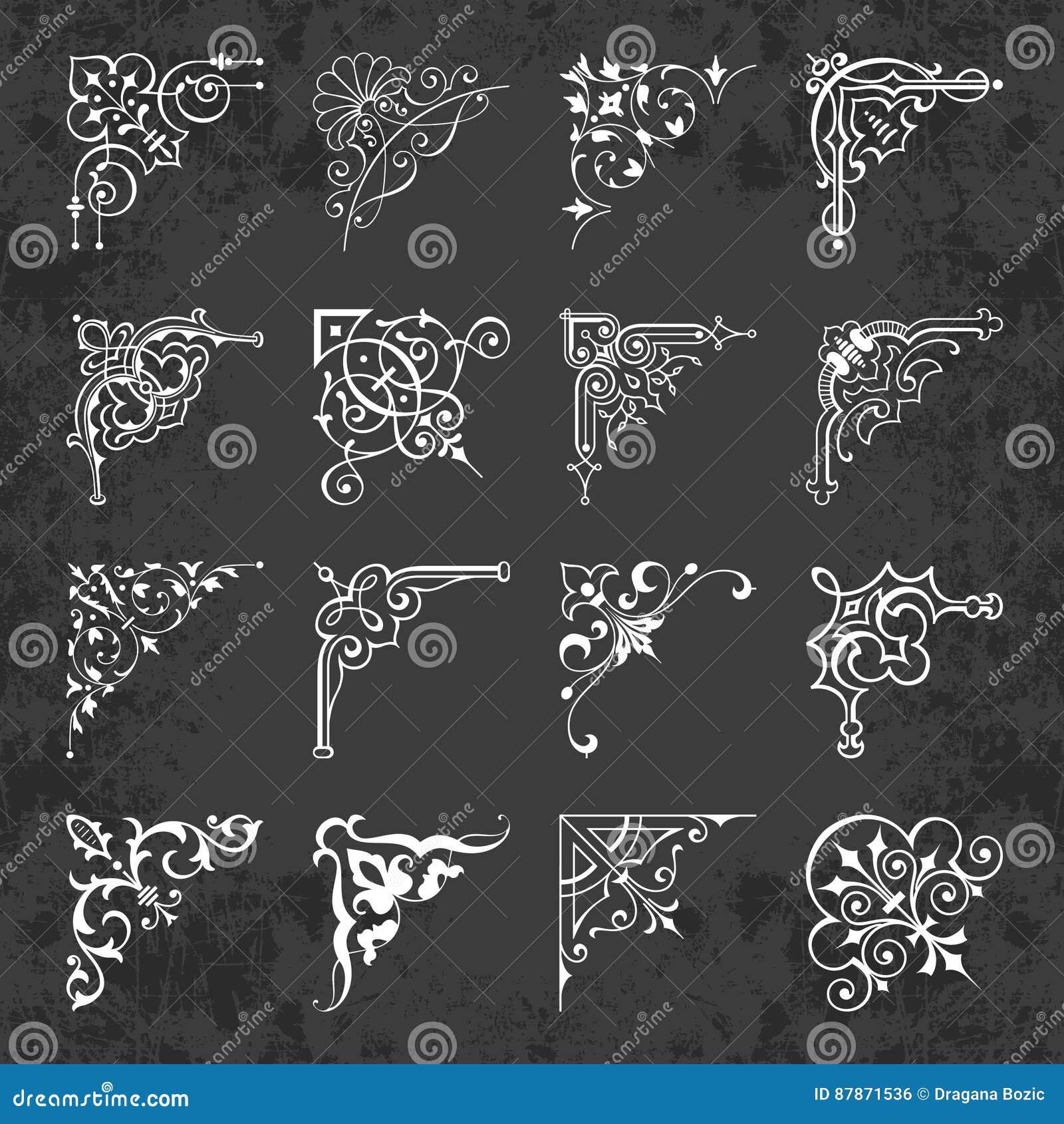 Esquinas Caligráficas Decorativas Para El Diseño En Un Fondo De La ...