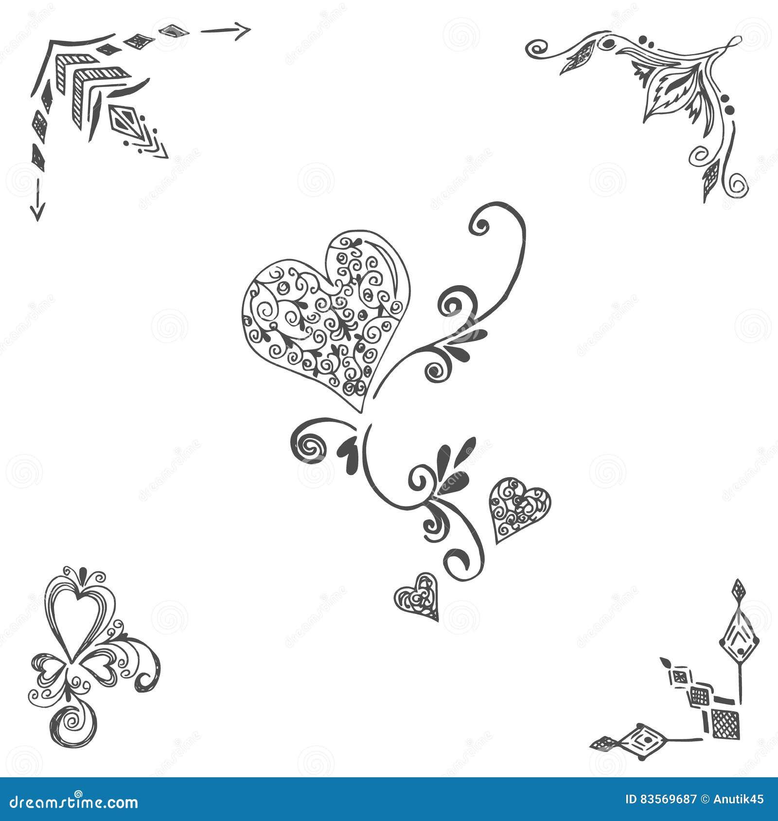 Esquinas corazones elementos de la decoraci n estilo del bosquejo ilustraci n del vector - Elementos de decoracion ...