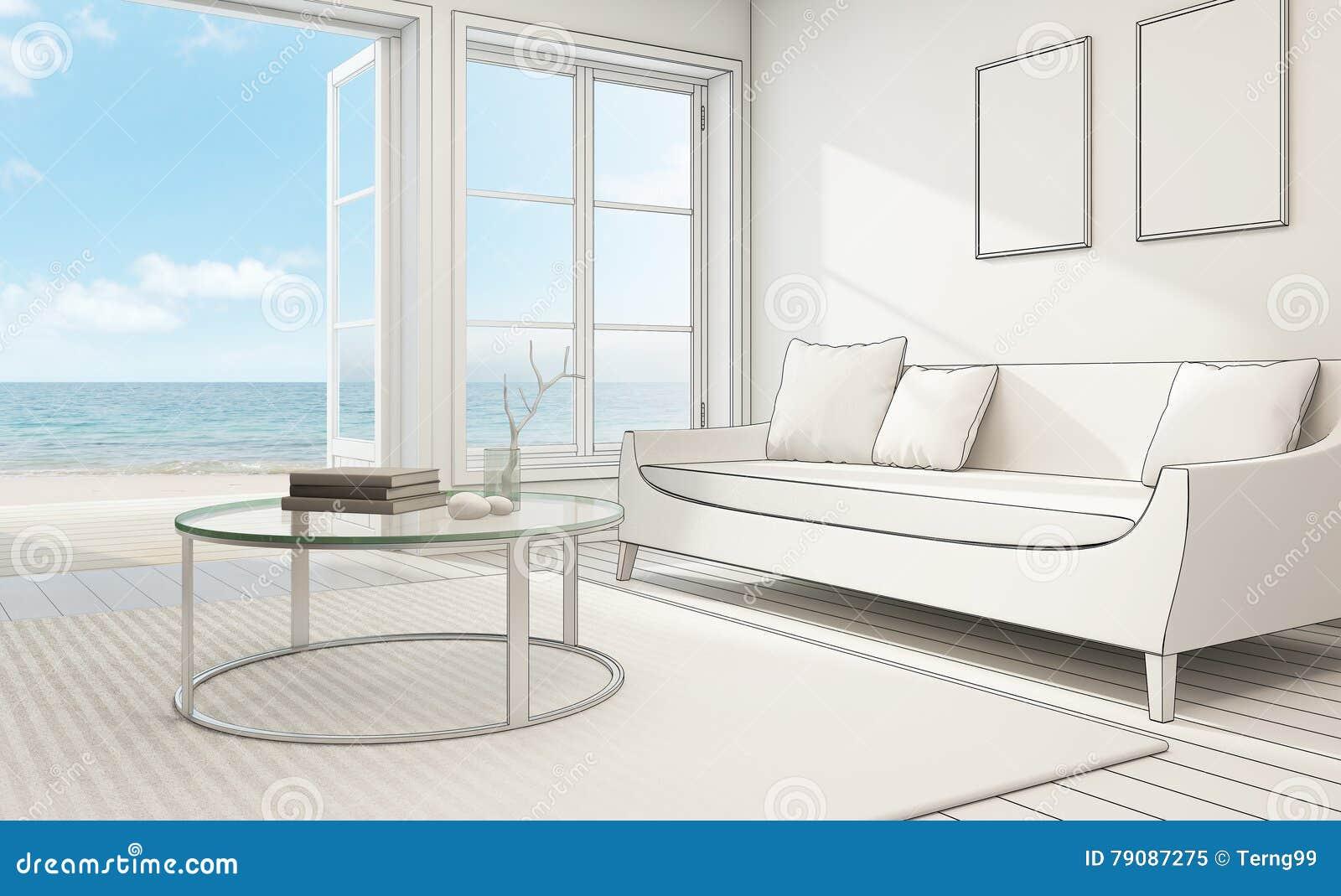 Esquissez la conception de l 39 int rieur de vue de mer dans for Conception de structure de maison moderne