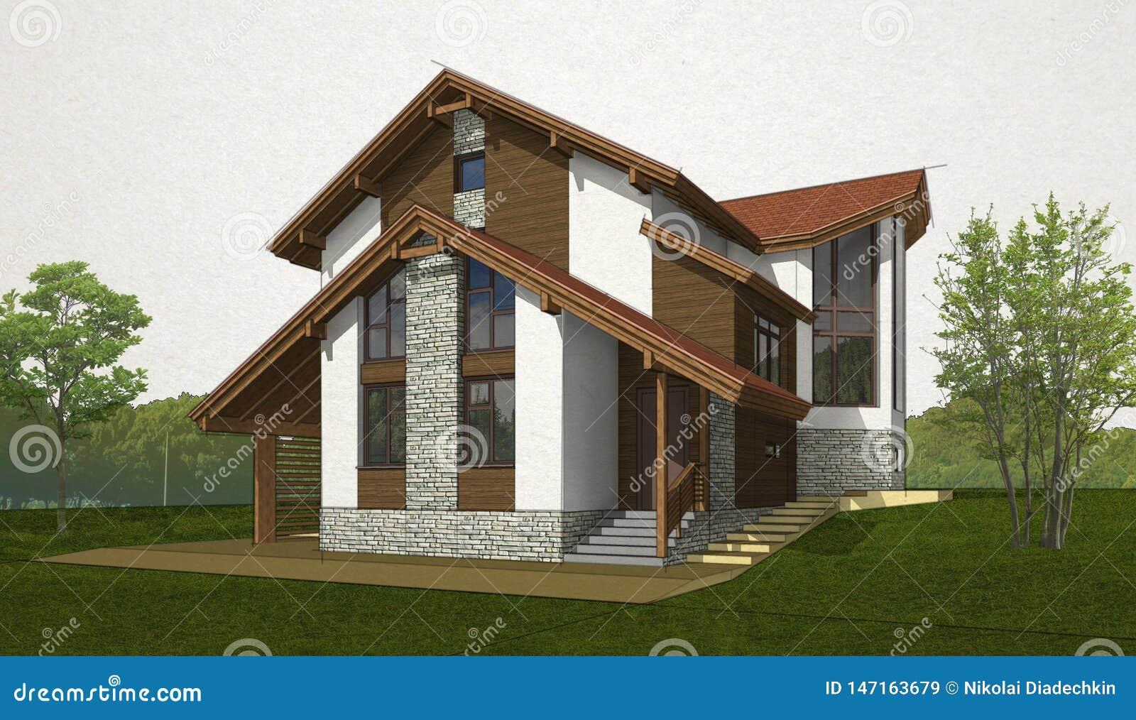 Construction Maison En Pente esquissez la maison de brique et de bois de construction