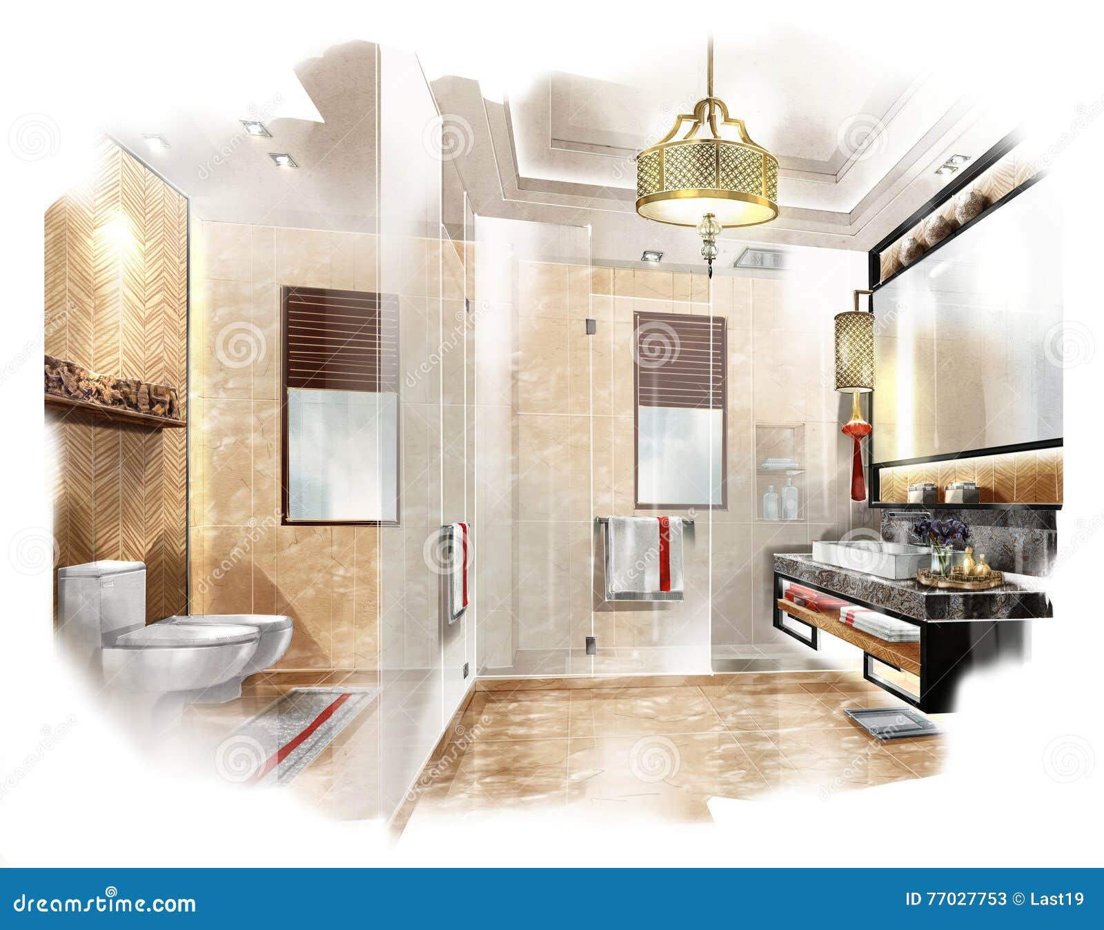 Esquissez La Salle De Bains Interieure De Perspective Dans Une