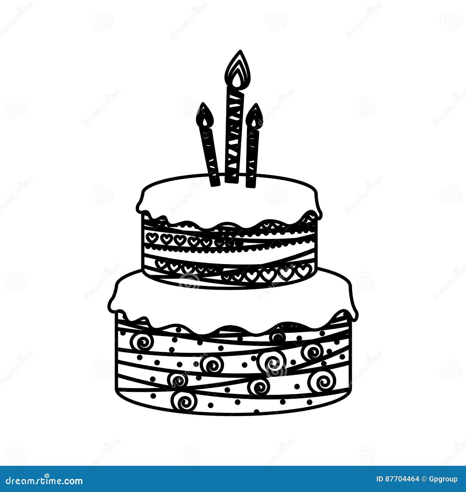 Esquissez les planchers du gâteau d anniversaire de silhouette deux avec des bougies