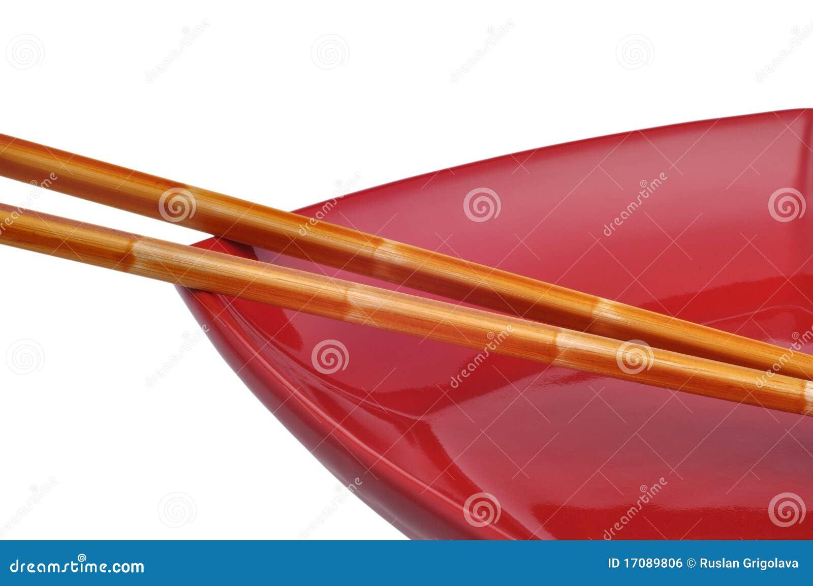 Ess-Stäbchen und Teller