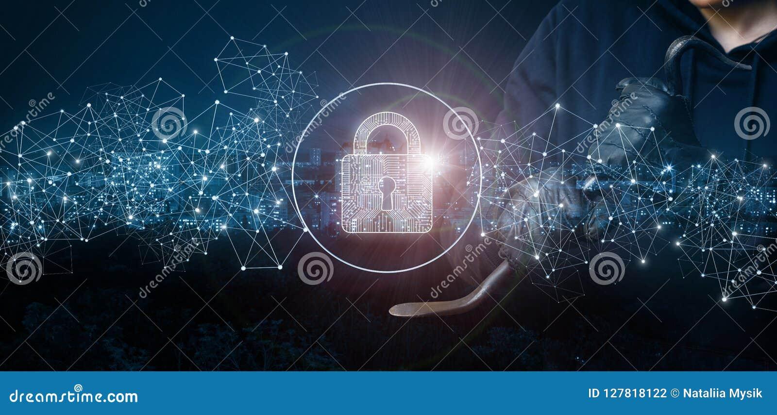 Essais de voleur pour fendre le réseau protégé