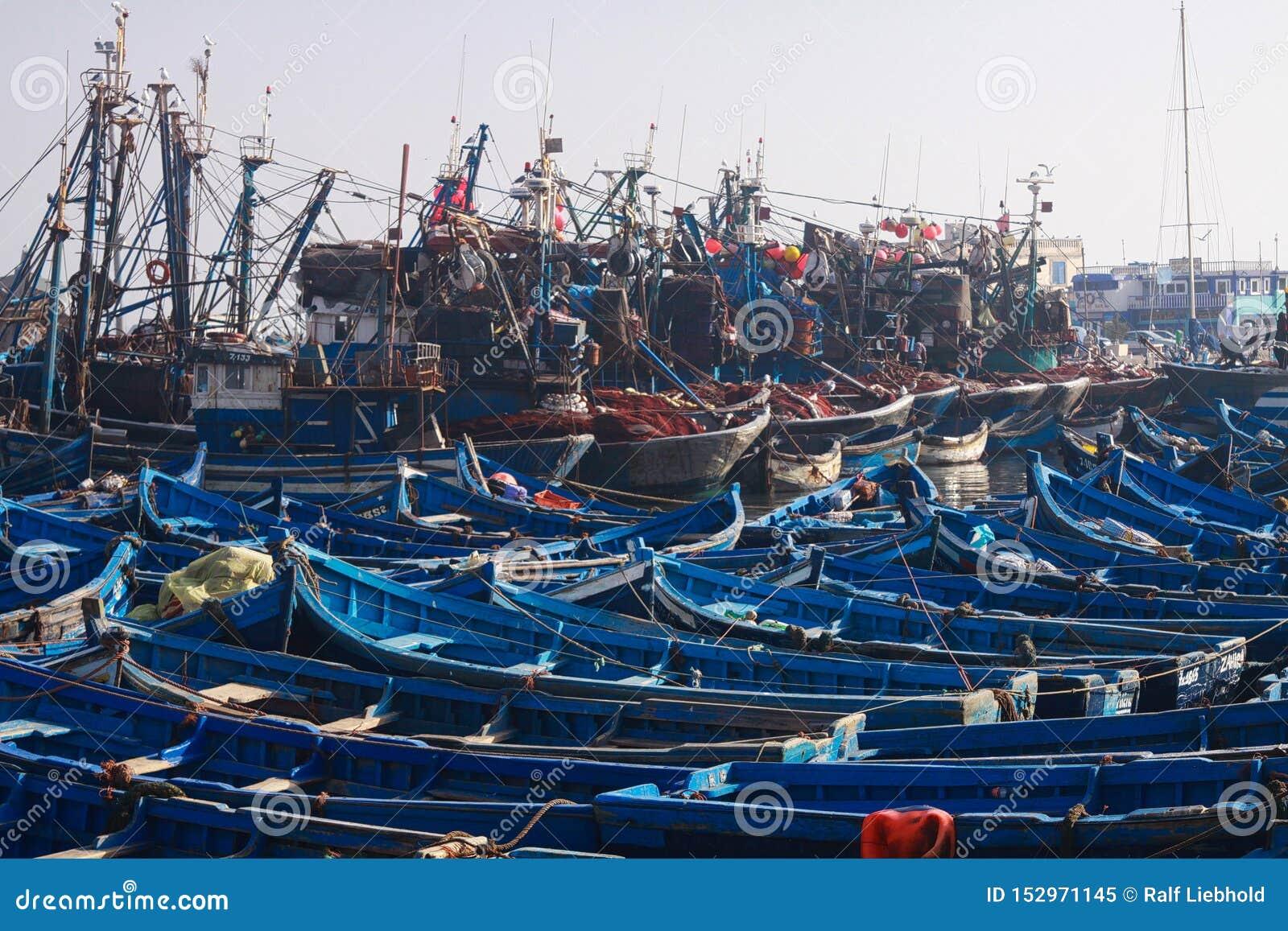 ESSAOUIRA, MARROCOS - 29 DE SETEMBRO 2011: Barcos de pesca azuis incontáveis espremidos junto em um porto totalmente abarrotado