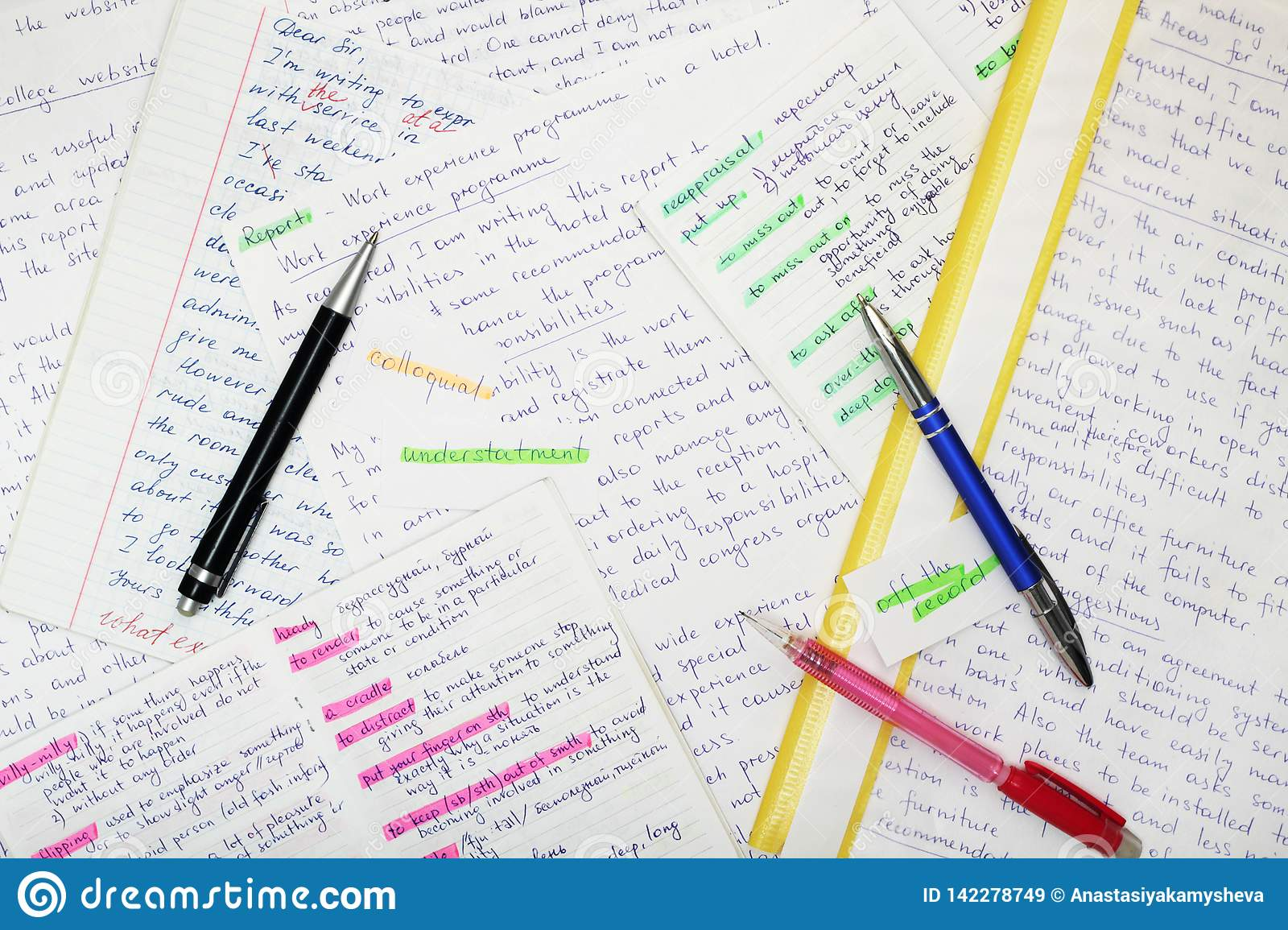 essays in english language as a part of exam preparation stock image  different essays forming background as a concept of english language exam  preparation