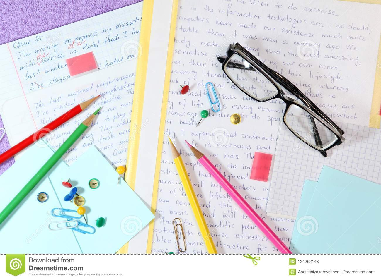 essays in english language ready for lessons stock image