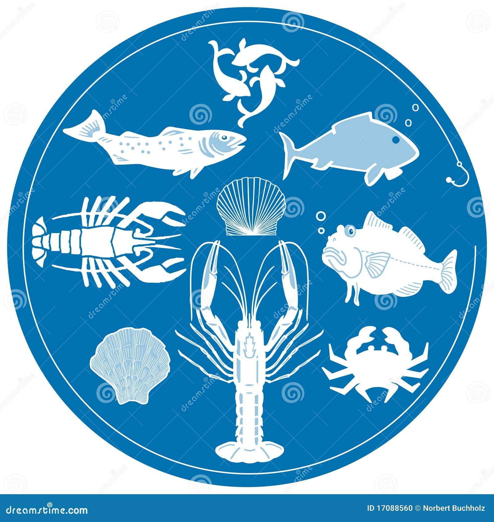Essbare Meerestiere auf Blau