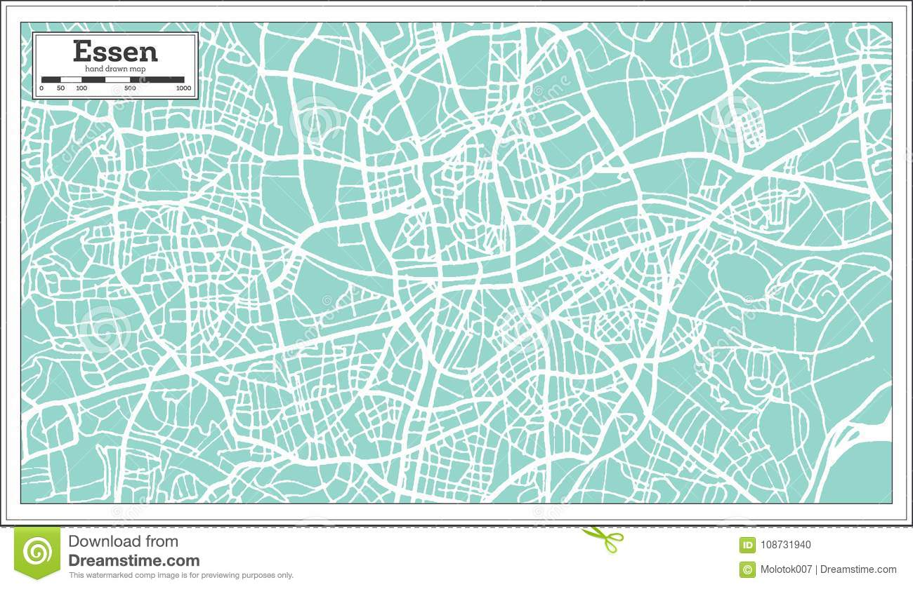 Map Of Germany Essen.Essen Germany City Map In Retro Style Outline Map Stock Vector