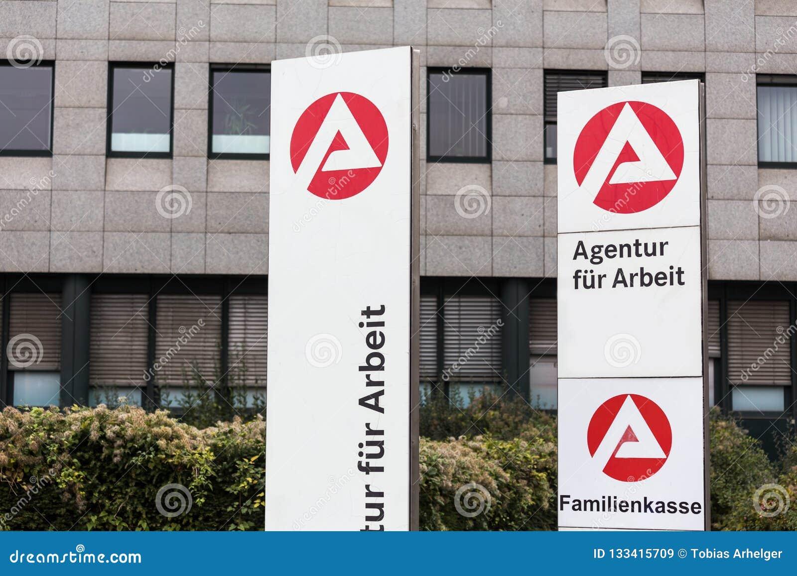 Essen, North Rhine-Westphalia/germany - 22 11 18: agentur für arbeit sign in essen germany