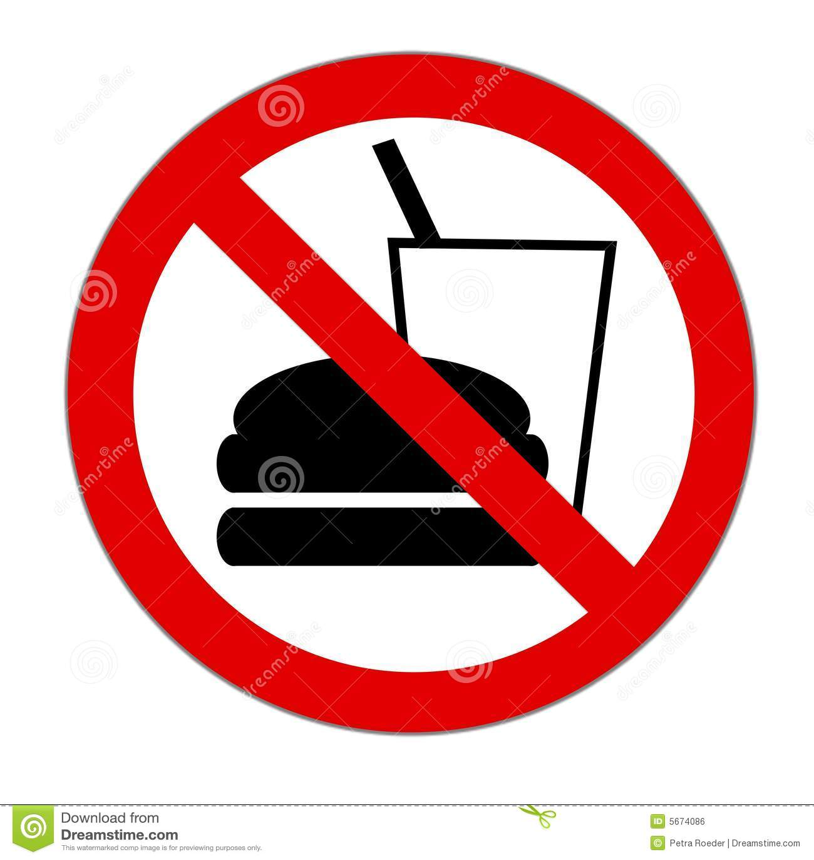 Essen und Trinken verboten