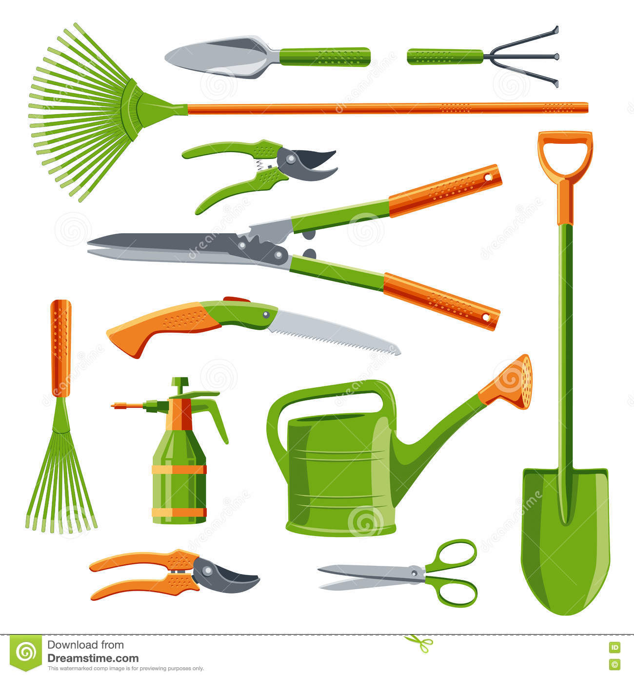 Essential gardening tools vector stock vector image for Common garden hand tools