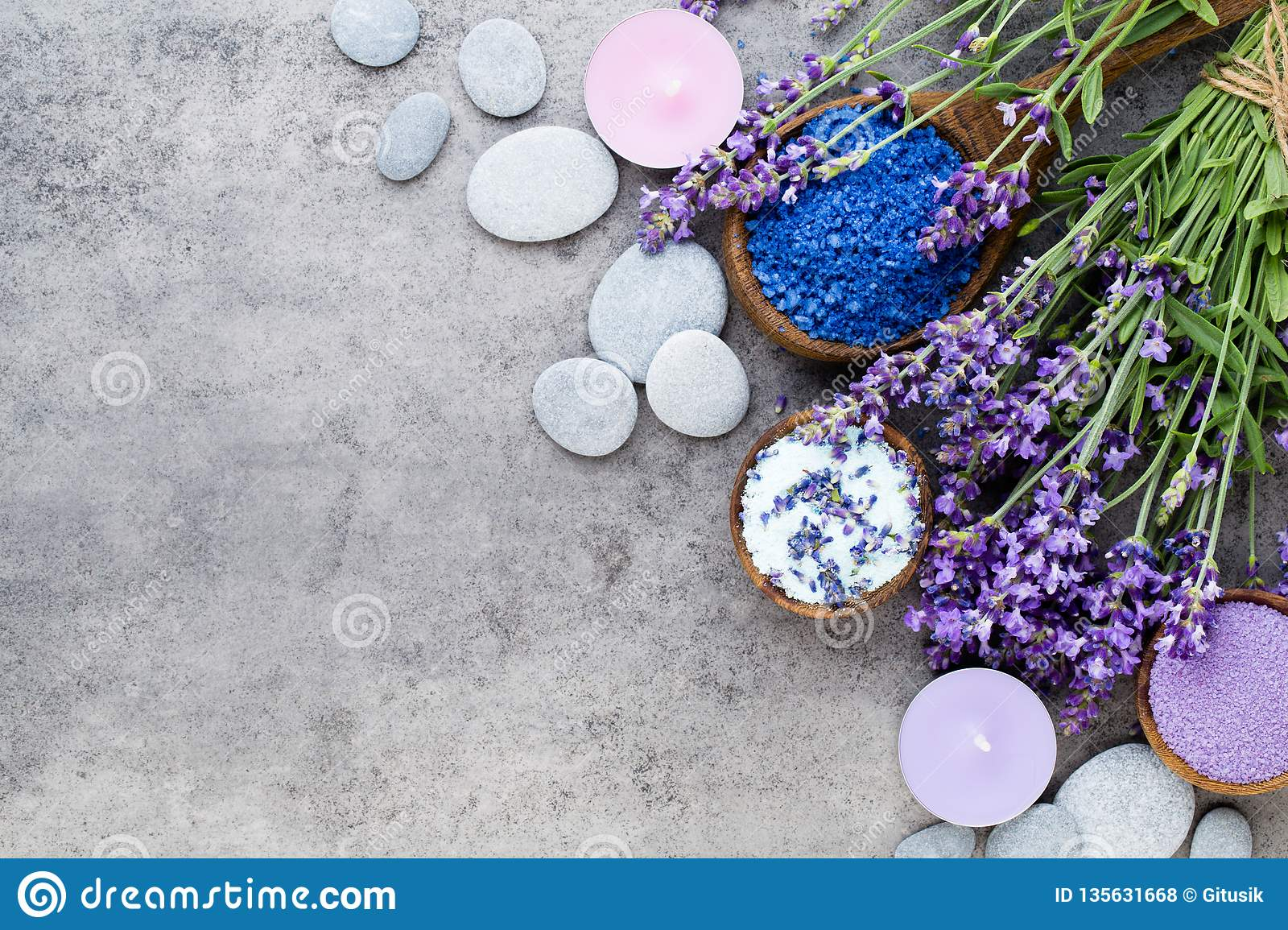 Essential lavender salt with flowers top view