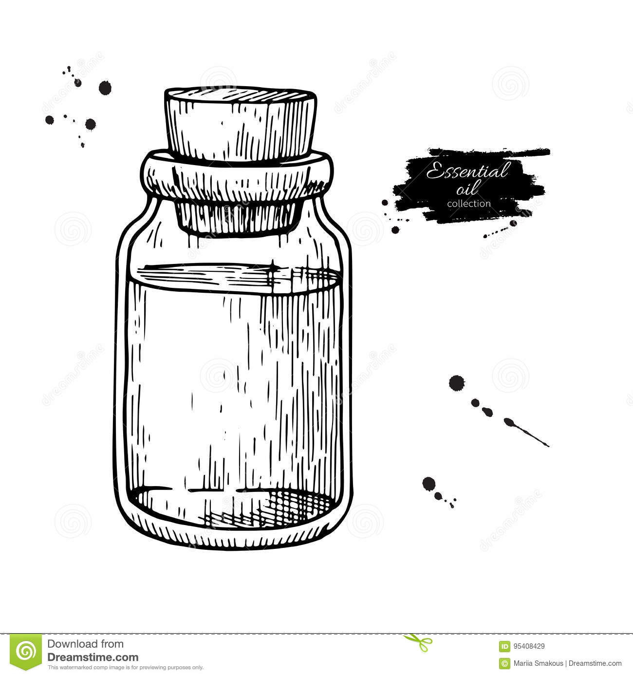 Essential oil glass bottle hand drawn vector illustration. Isolated drawing for Aromatherapy treatment, alternative