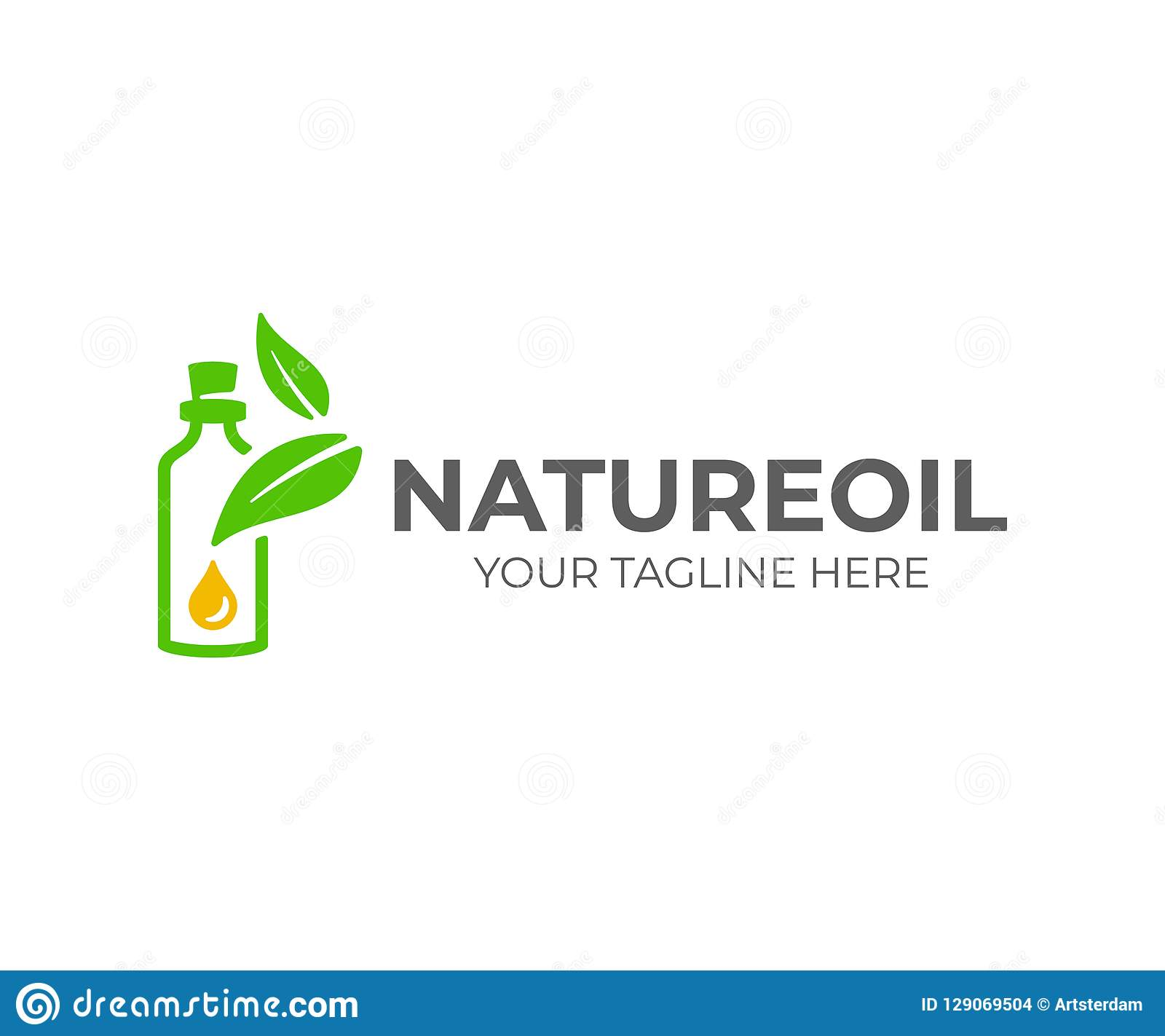 Essential oil logo design. Natural oil with fresh herbs vector design