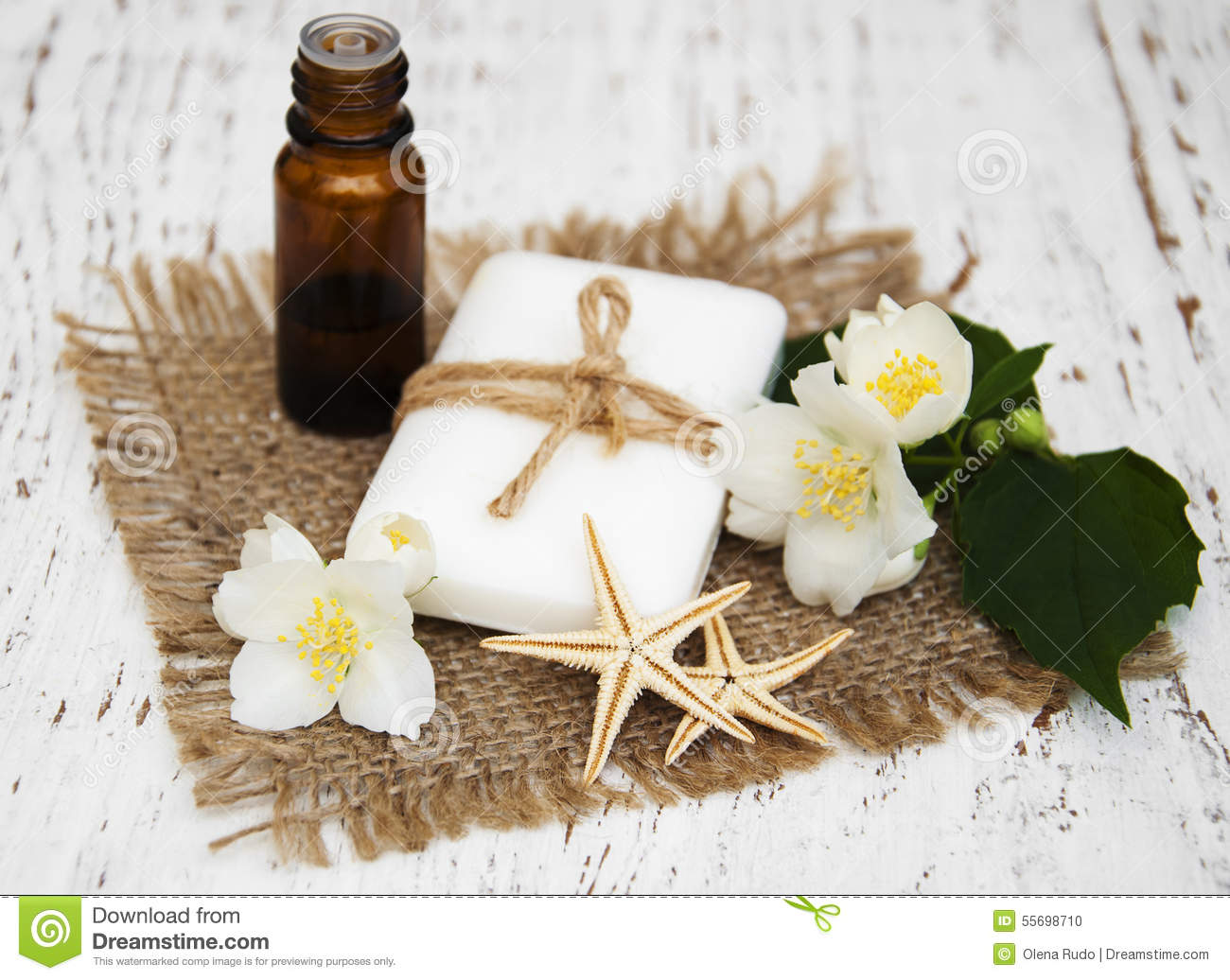 Essential Oil And Soap With Jasmine Flower Stock Photo Image Of