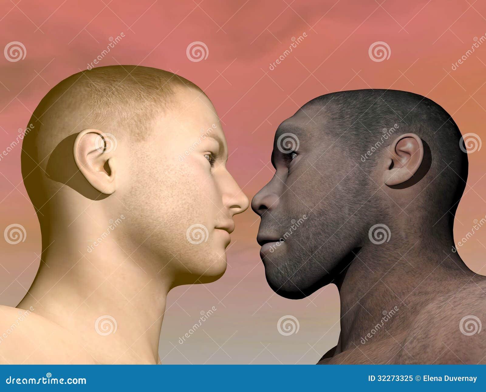 Essere umano moderno e homo erectus - 3D rendono