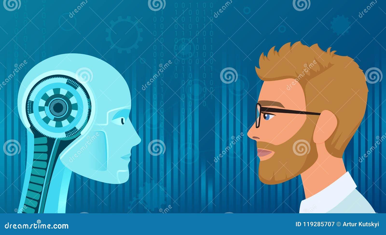 Esseri umani di vettore contro opposizione dei robot Affare di concetto ed illustrazione di lavoro di futuro