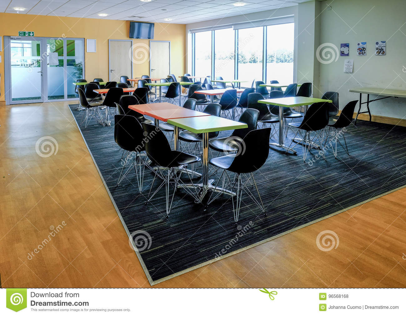 Essex England UK June 12 2017Empty Canteen With Tables And Chairs Light Airy Room Coming In From The Large Windows