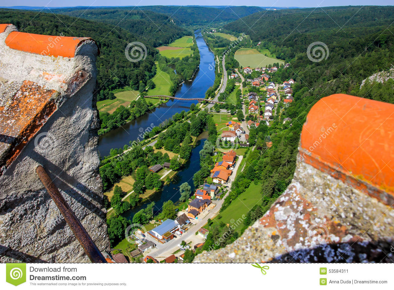Essing Germany  City new picture : Essing Germany, Altmuehl Valley, Top View From Castle Stock Photo ...