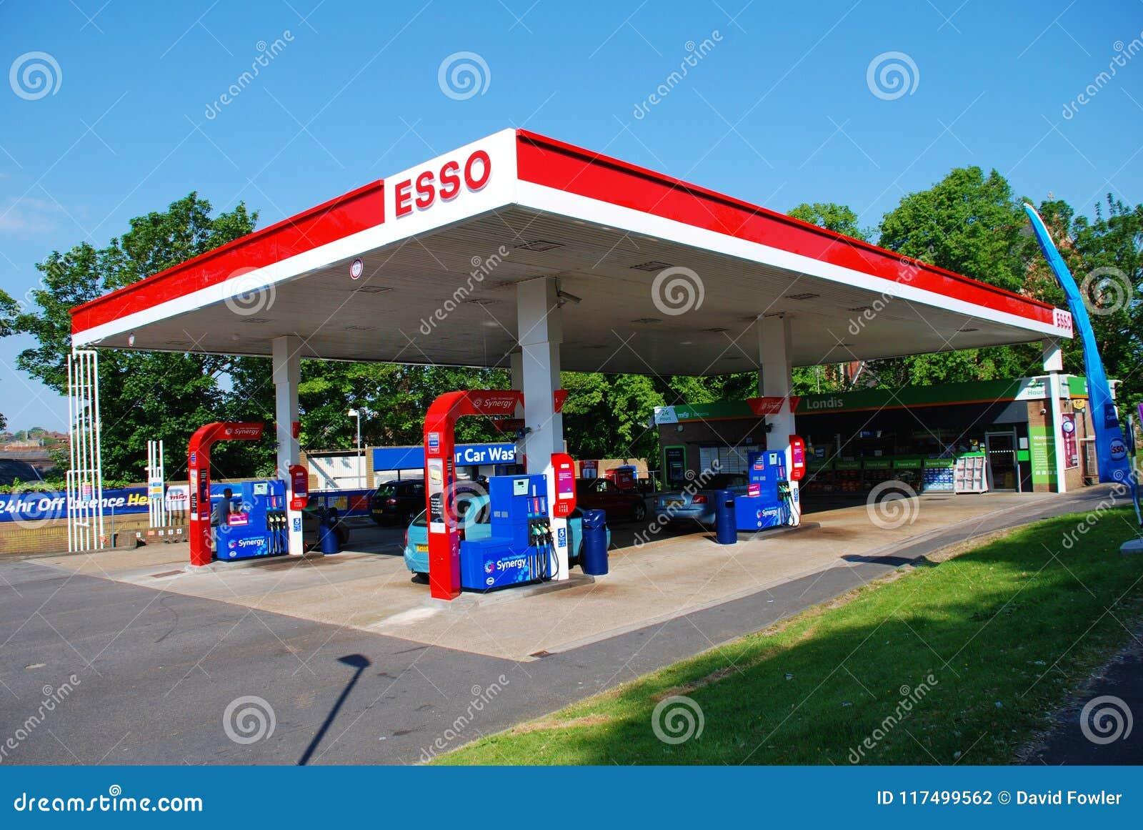 Esso petrol station, England