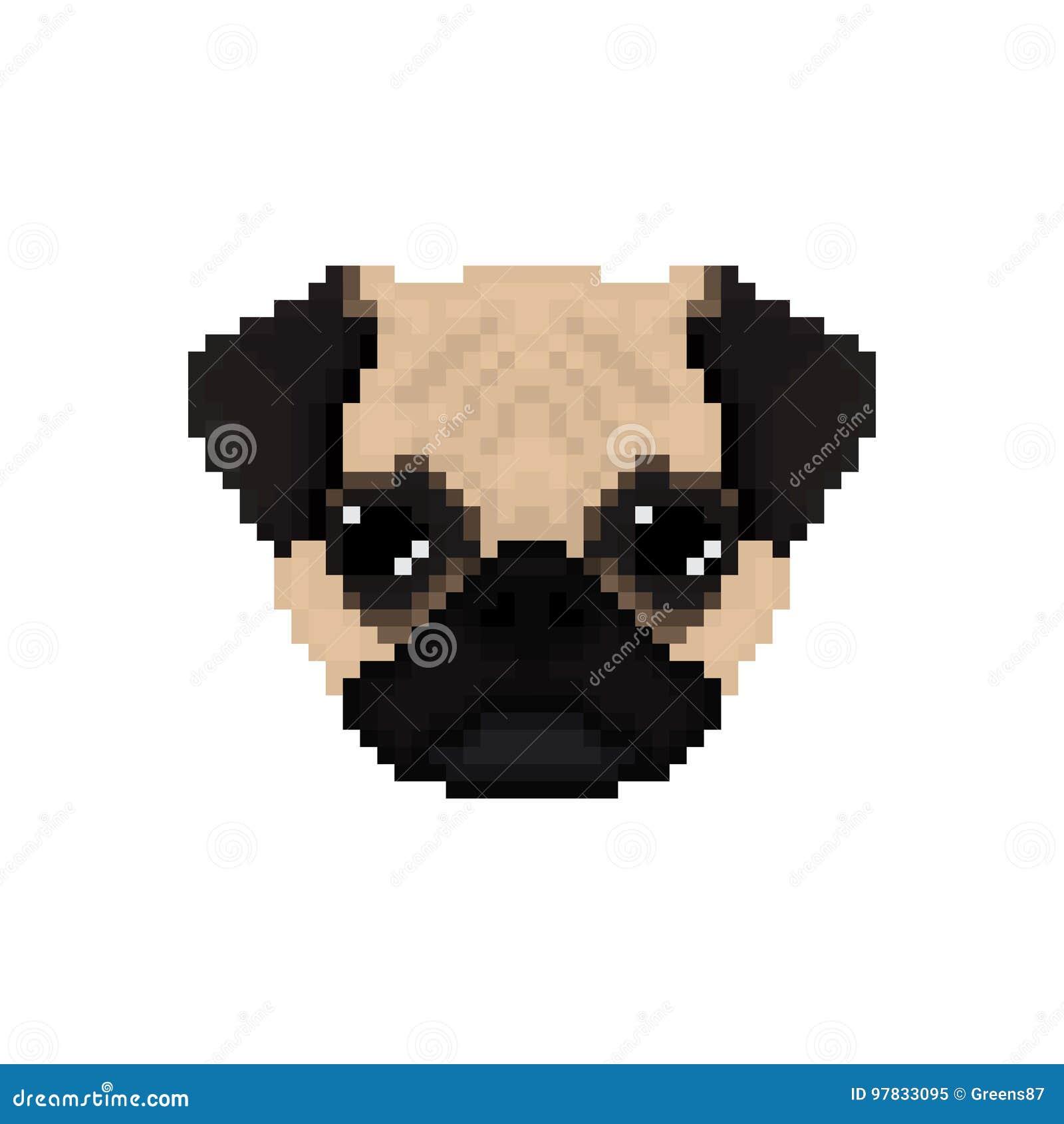 Essuie La Tête De Chien Dans Le Style Dart De Pixel