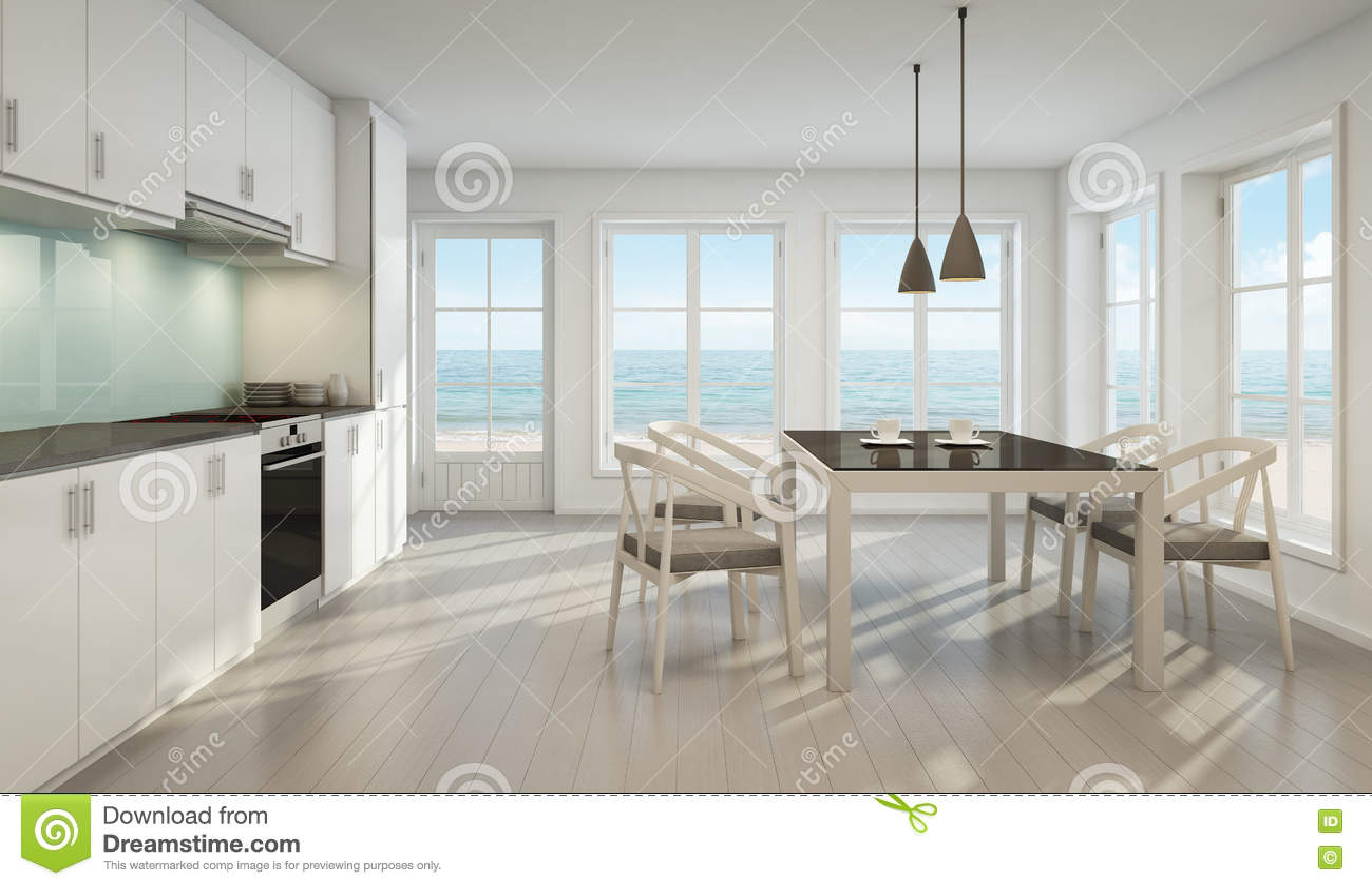 Esszimmer Und Küche Der Seeansicht Im Strandhaus Stock Abbildung ...
