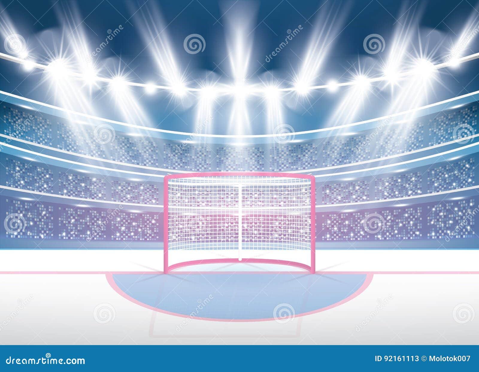 Estádio do hóquei em gelo com projetores e objetivo vermelho