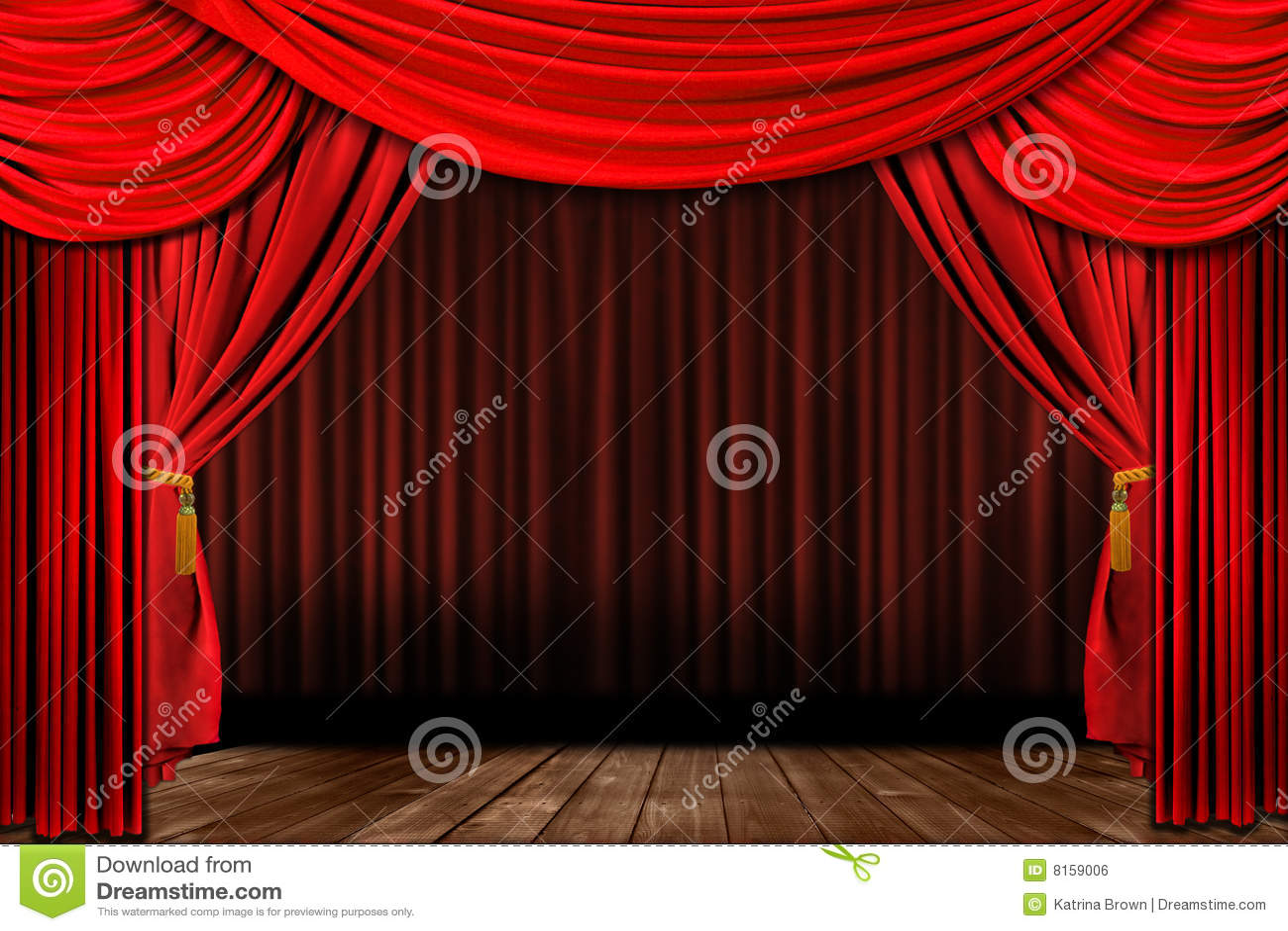 Estágio elegante antiquado vermelho dramático do teatro