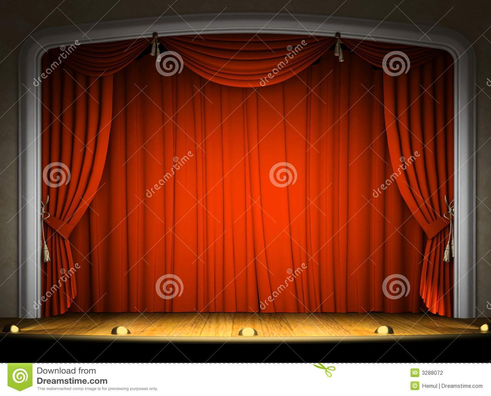 Estágio vazio com cortina vermelha