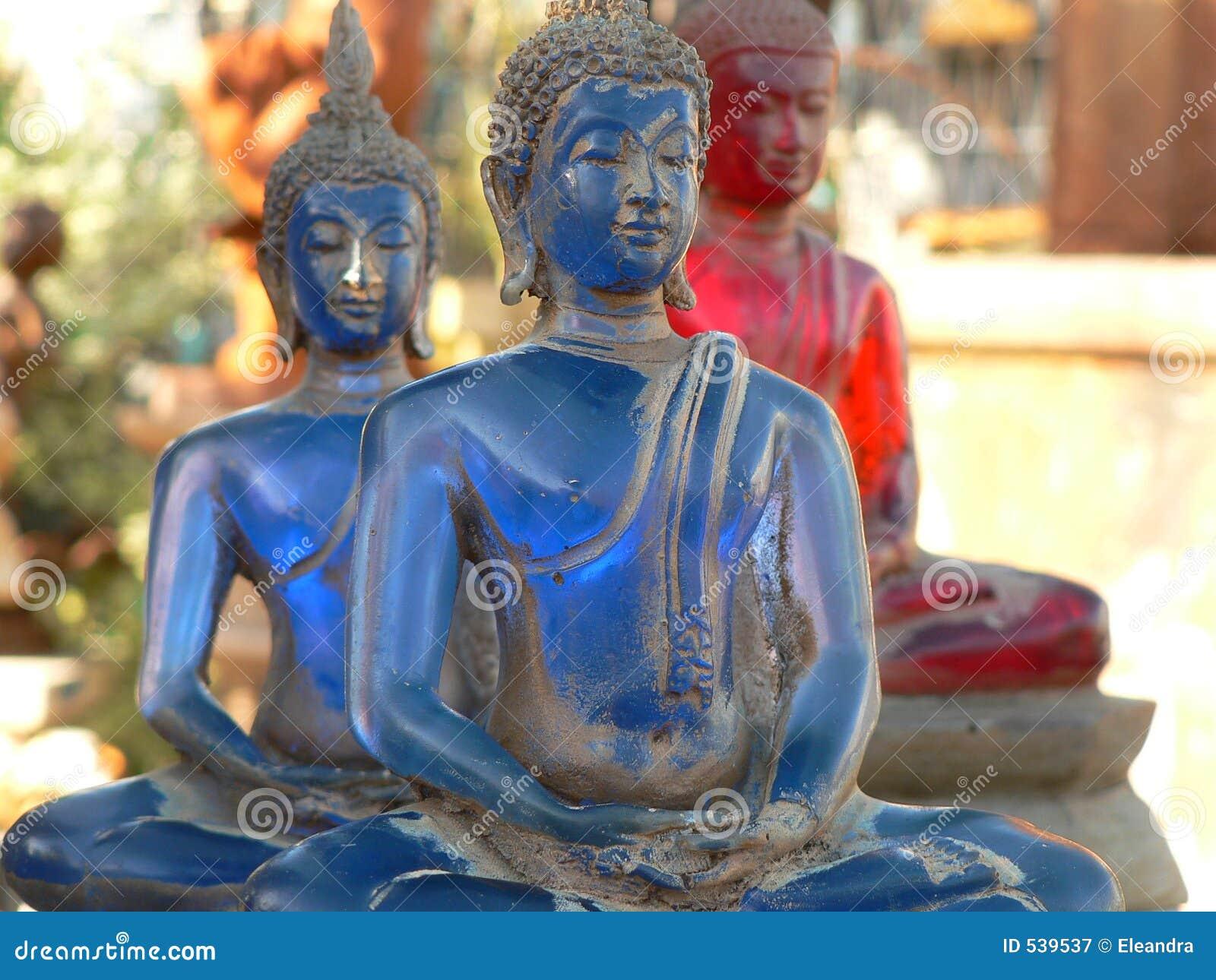 Estátua budista velha azul