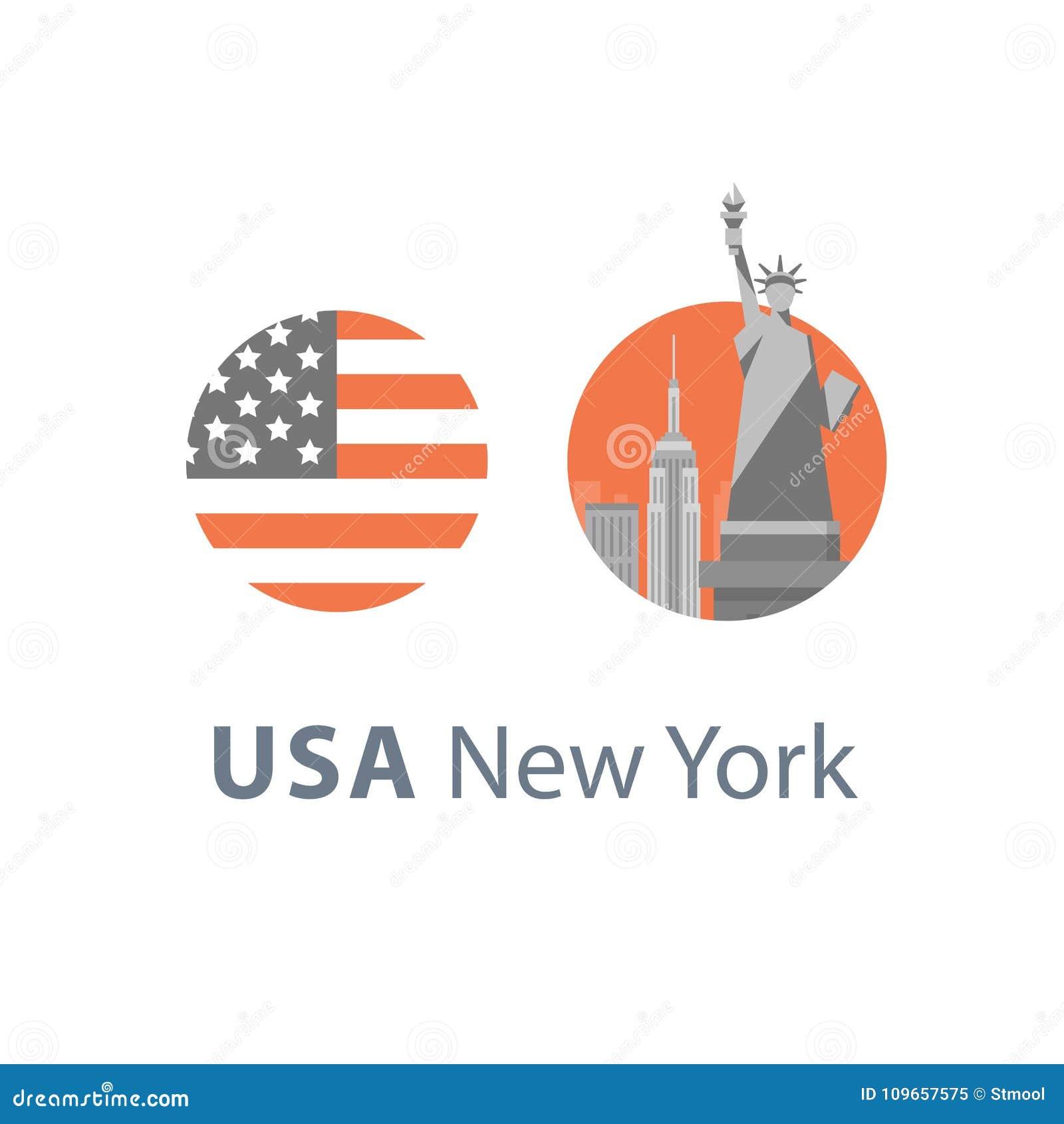 Estátua da liberdade, símbolo de New York, destino do curso, marco famoso, Estados Unidos da América, conceito inglês da educação