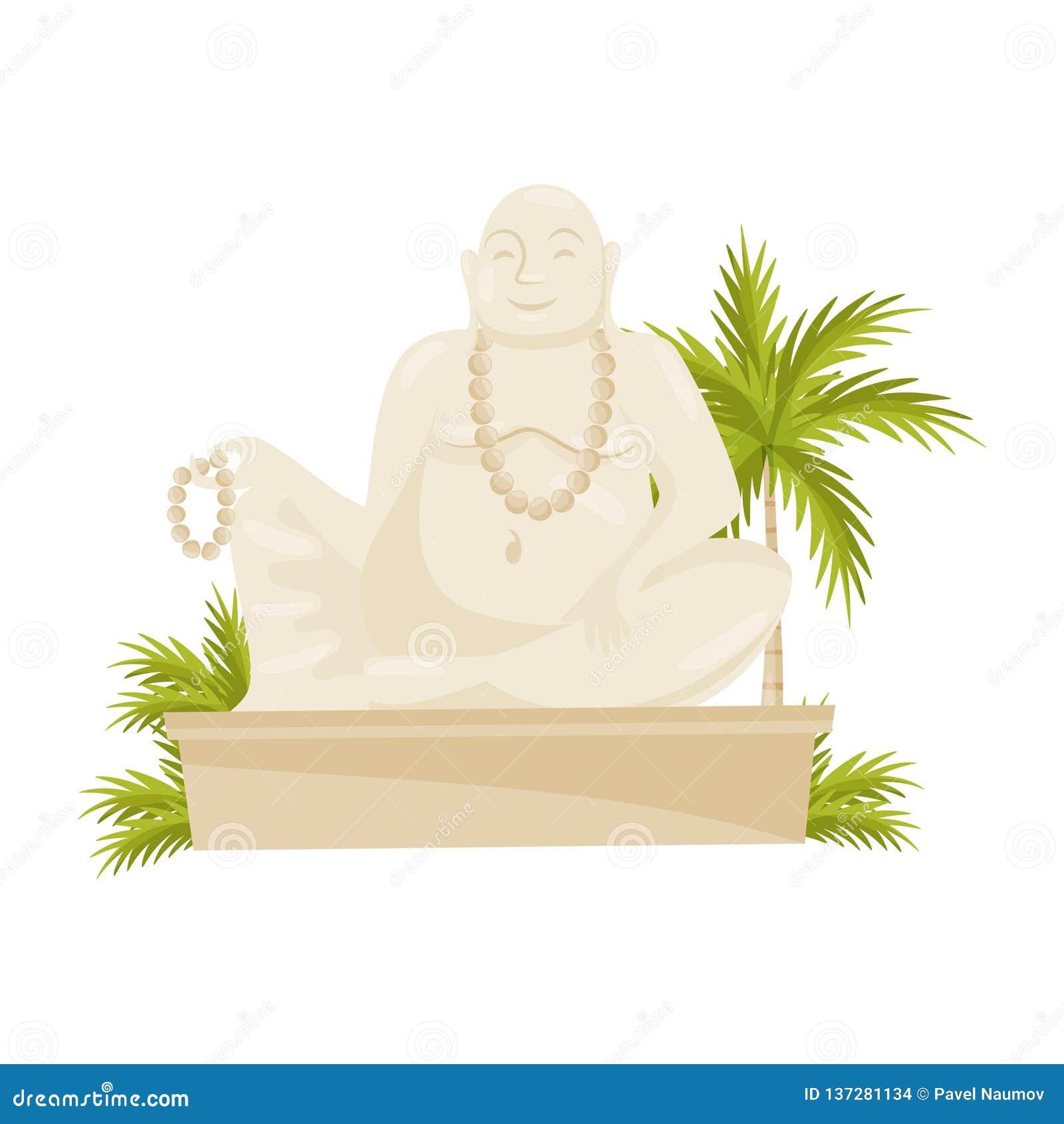Estátua de riso gigante da Buda, palmeira verde e folhas Símbolo cultural Monumento histórico velho Projeto liso do vetor