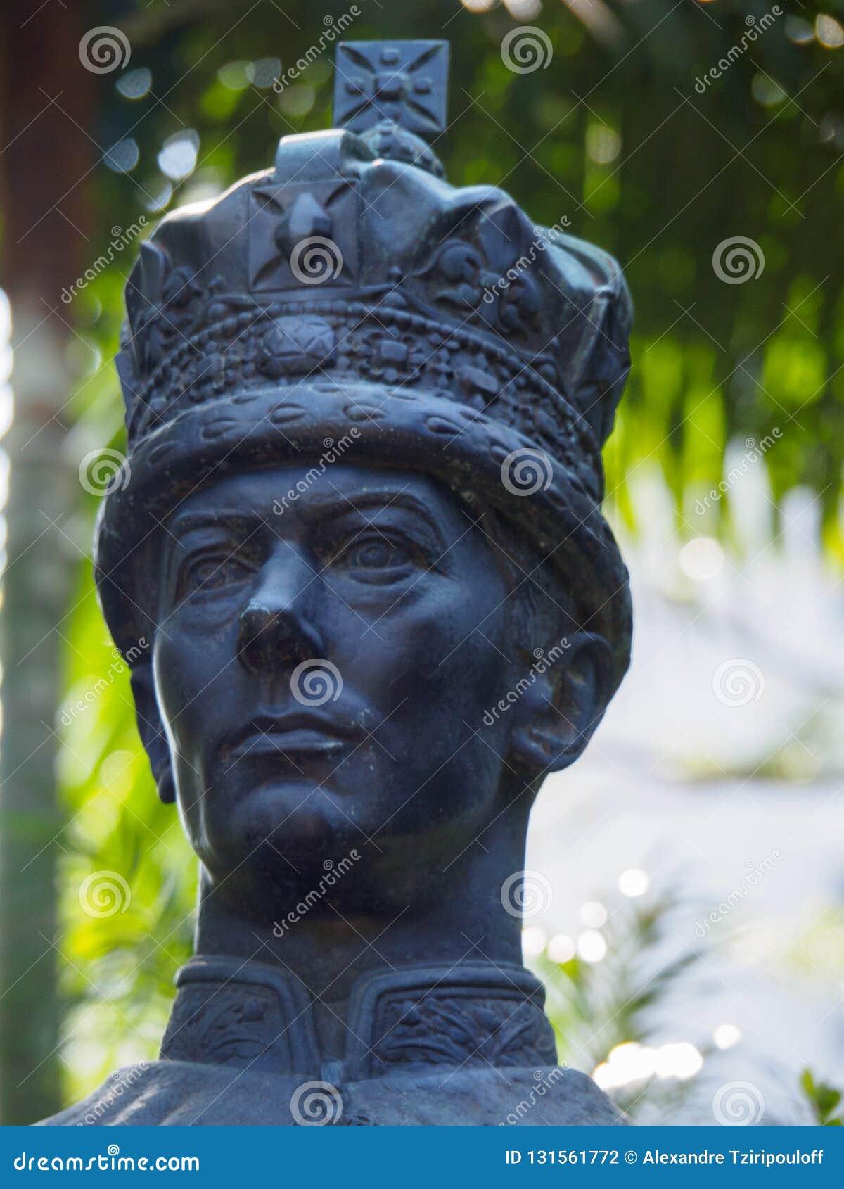 Estátua do rei George VI em Hong Kong Zoological e em jardins botânicos