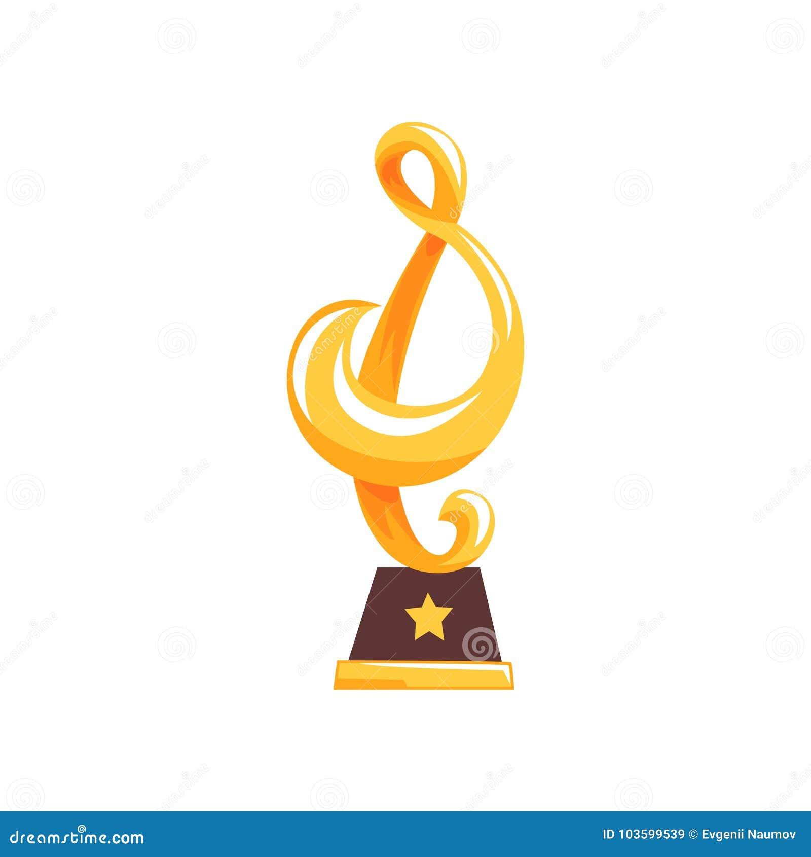 Estátua Dourada Da Clave De Sol Na Base Marrom Troféu Da Concessão