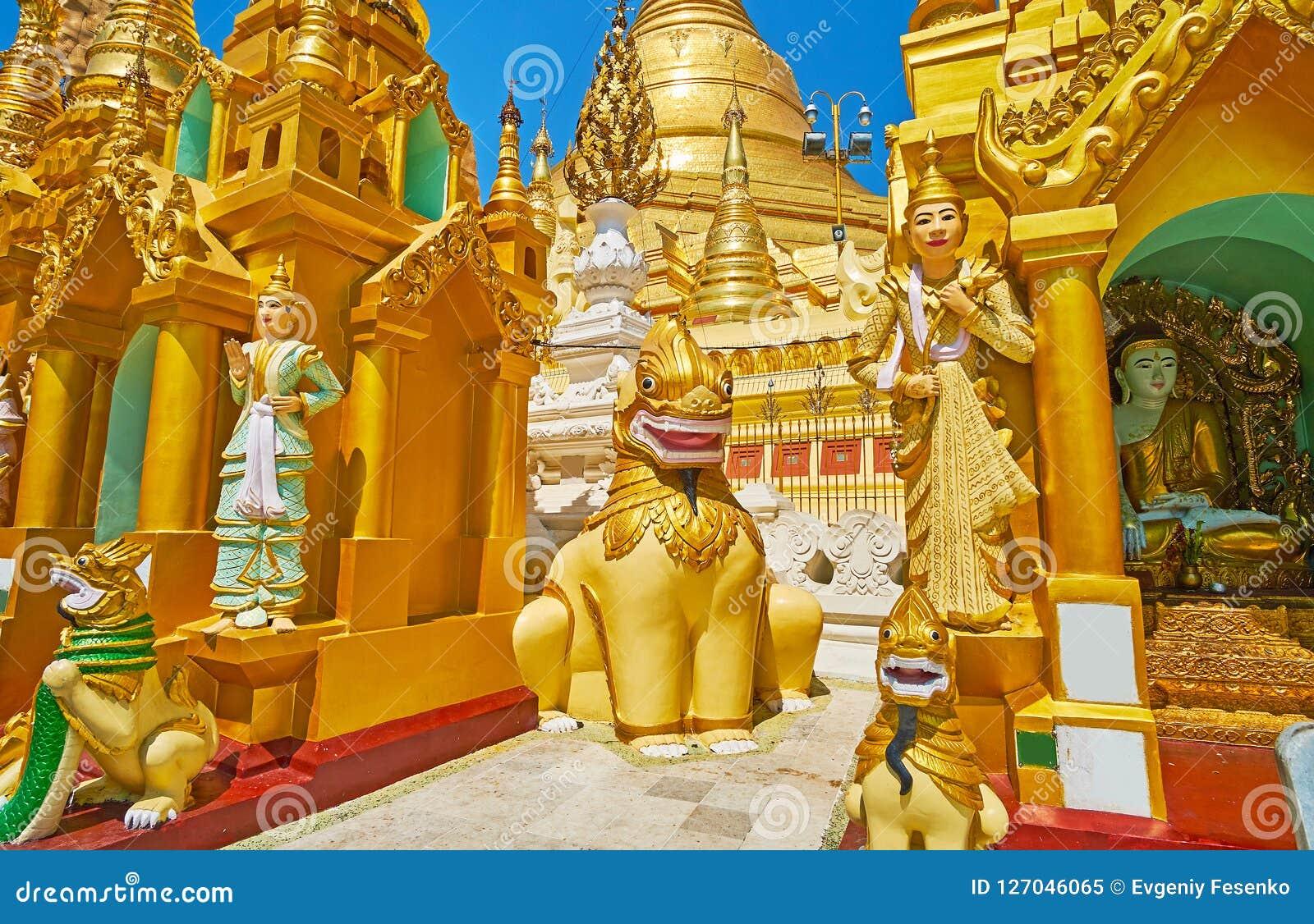 Estátuas Nat burmese em Shwedagon, Yangon, Myanmar