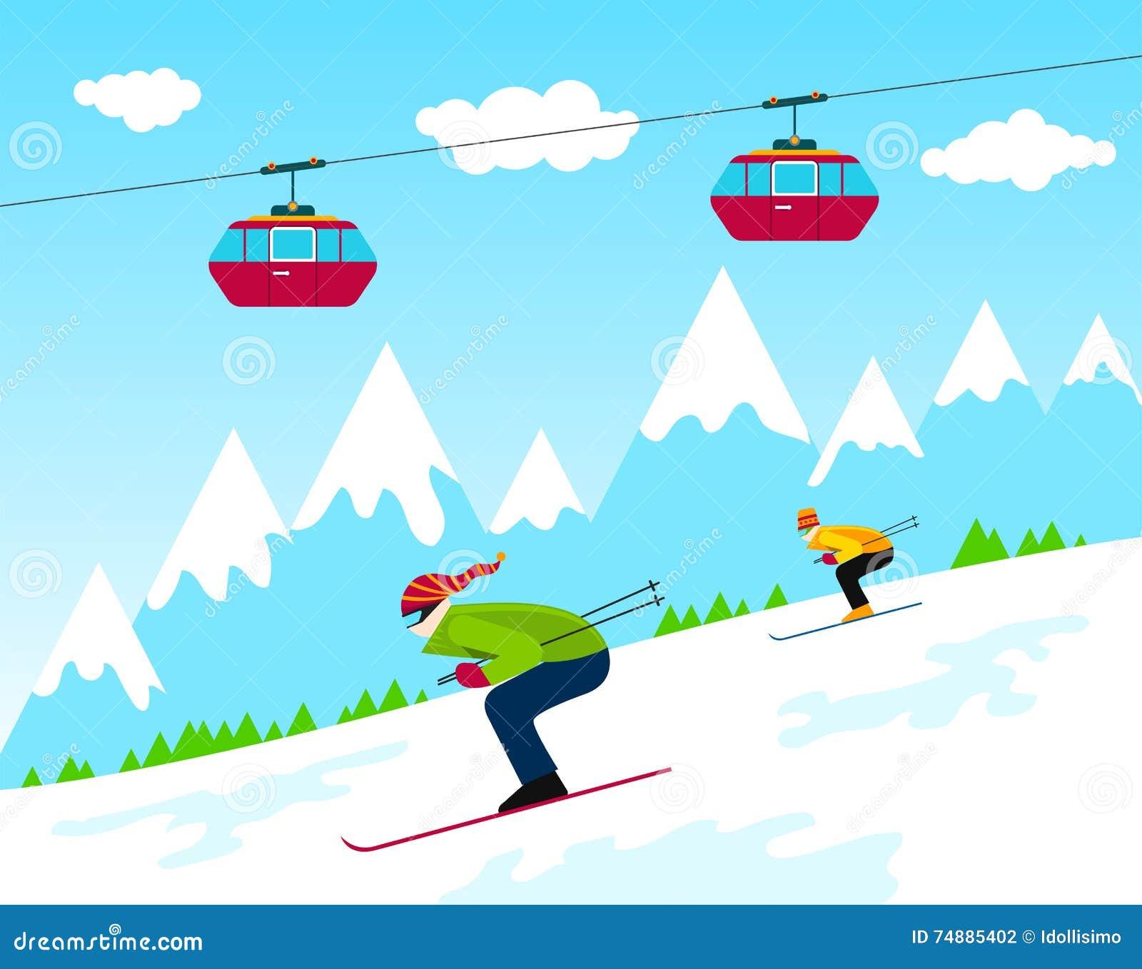Estância de esqui do inverno