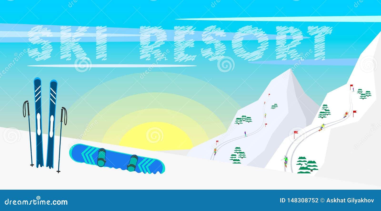 Estância de esqui do projeto da bandeira da Web do inverno, equipamento do esqui, abeto, montanhas e fundo do sol