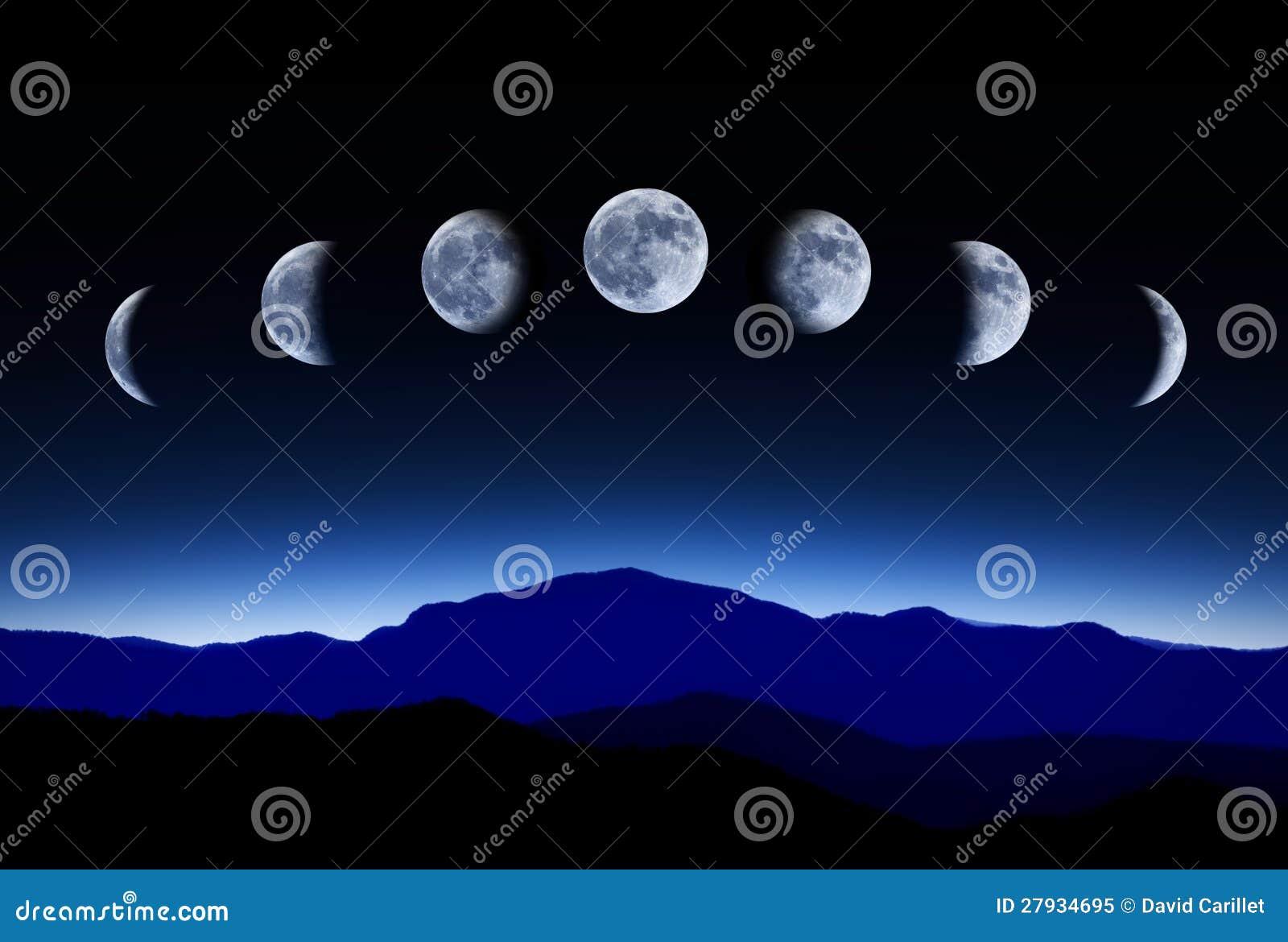 Esté en la luna el ciclo lunar en cielo nocturno, concepto del tiempo-lapso