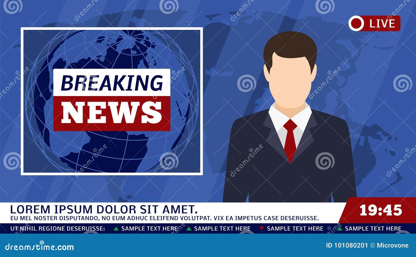 Estúdio da notícia da tevê com radiodifusor e quebra da ilustração do vetor do fundo do mundo