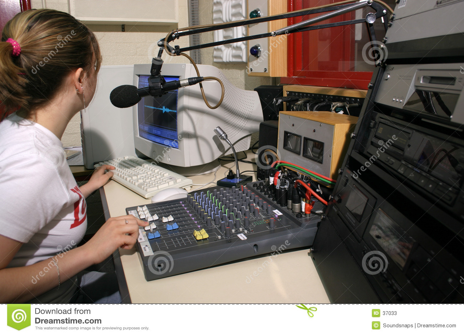 Estúdio de rádio no ar