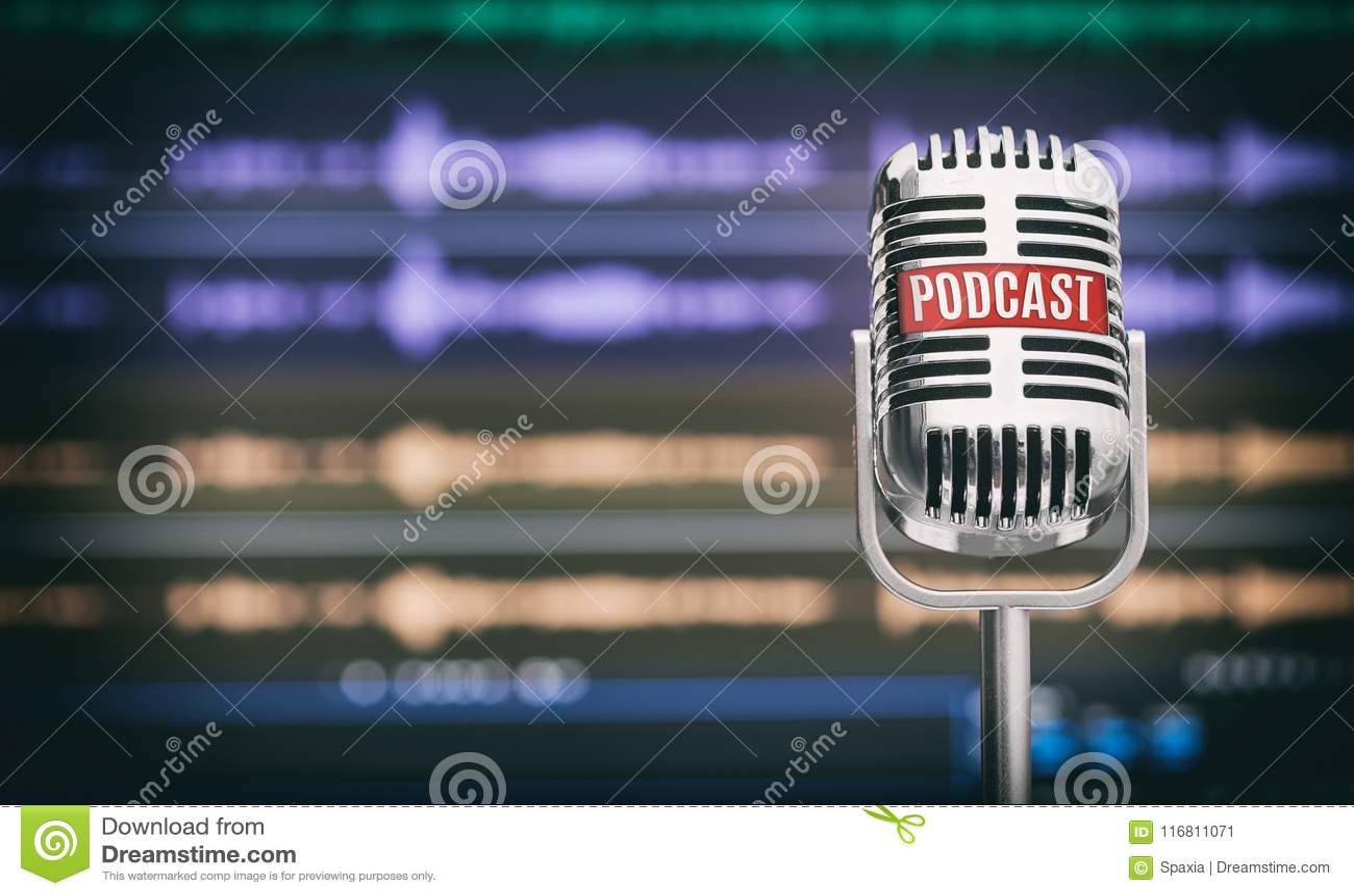Estúdio home do Podcast Microfone com um ícone do podcast
