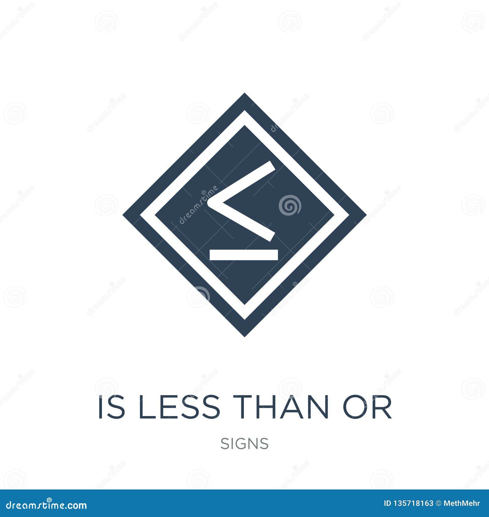 Est inférieur ou égal à l icône dans le style à la mode de conception est inférieur ou égal à l icône d isolement sur le fond bla