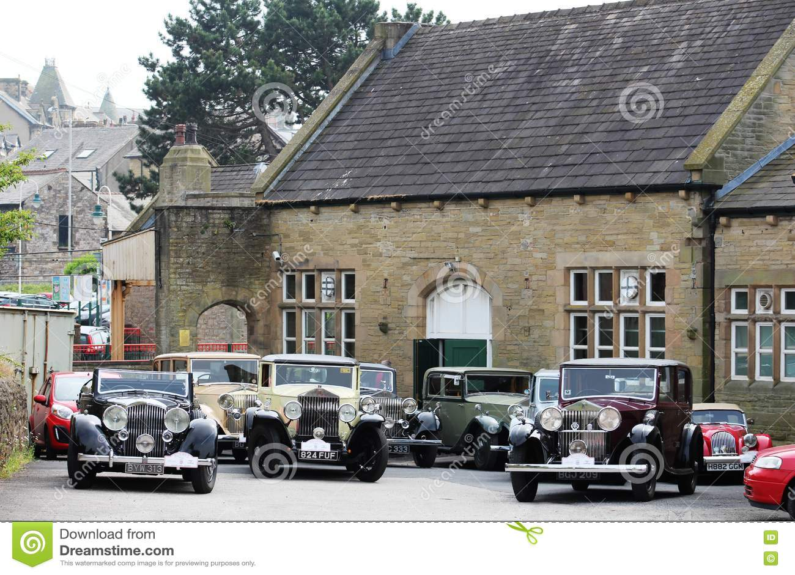 Estação de Carnforth dos carros de Rolls Royce do vintage