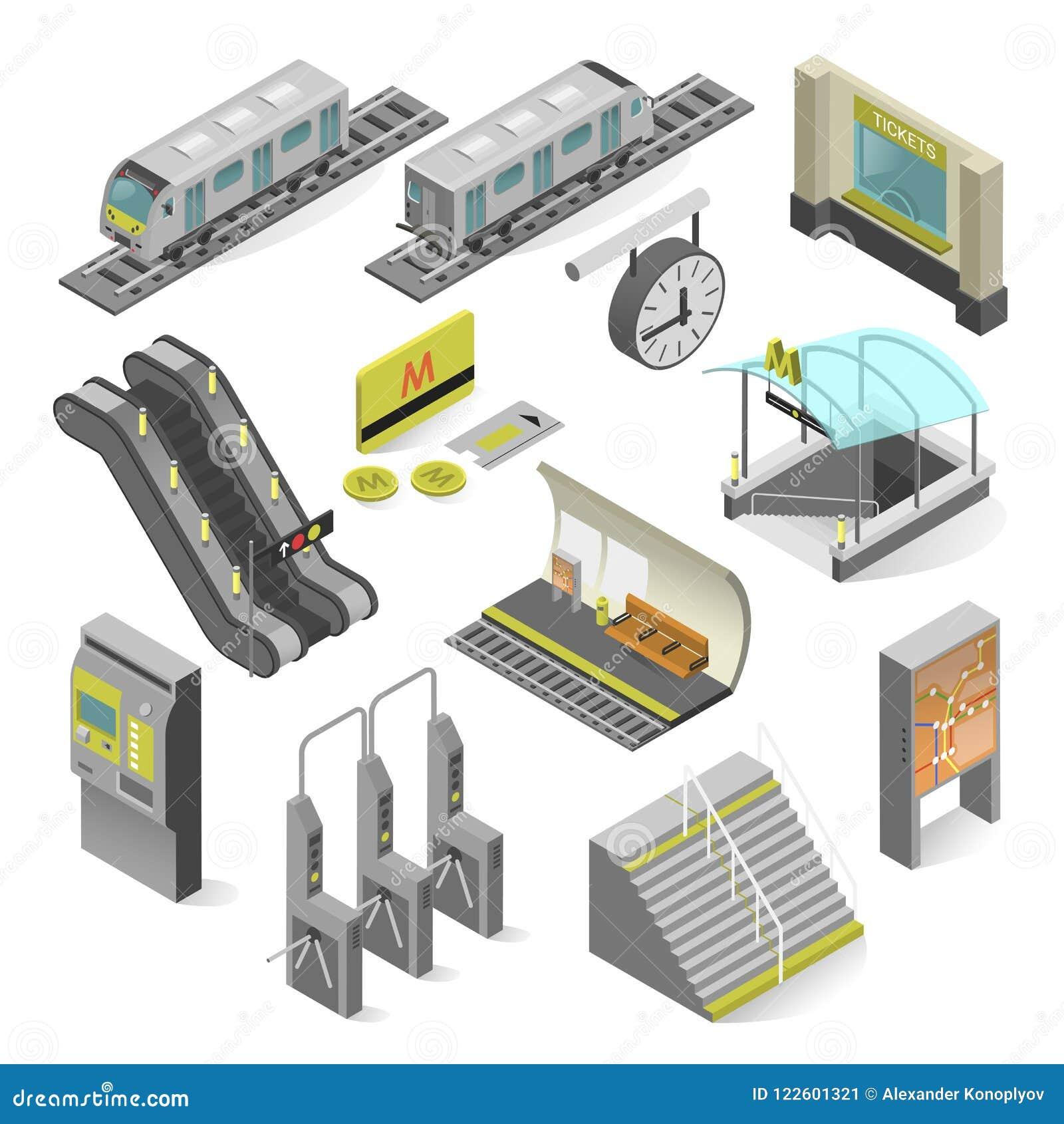 Estação de metro isométrica