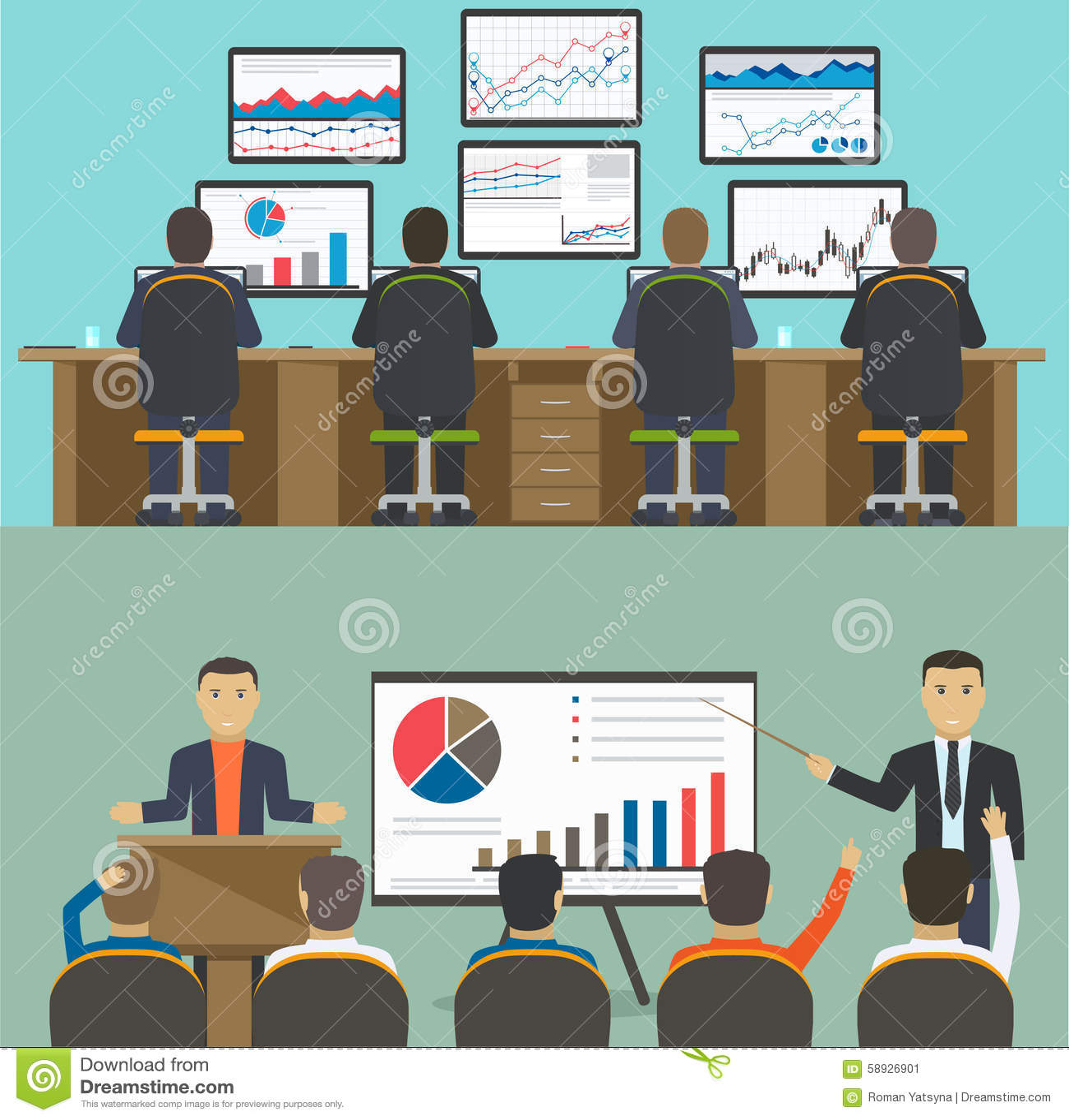 Estação de trabalho com um grupo de trabalhadores, informação da analítica da Web e estatística do Web site do desenvolvimento