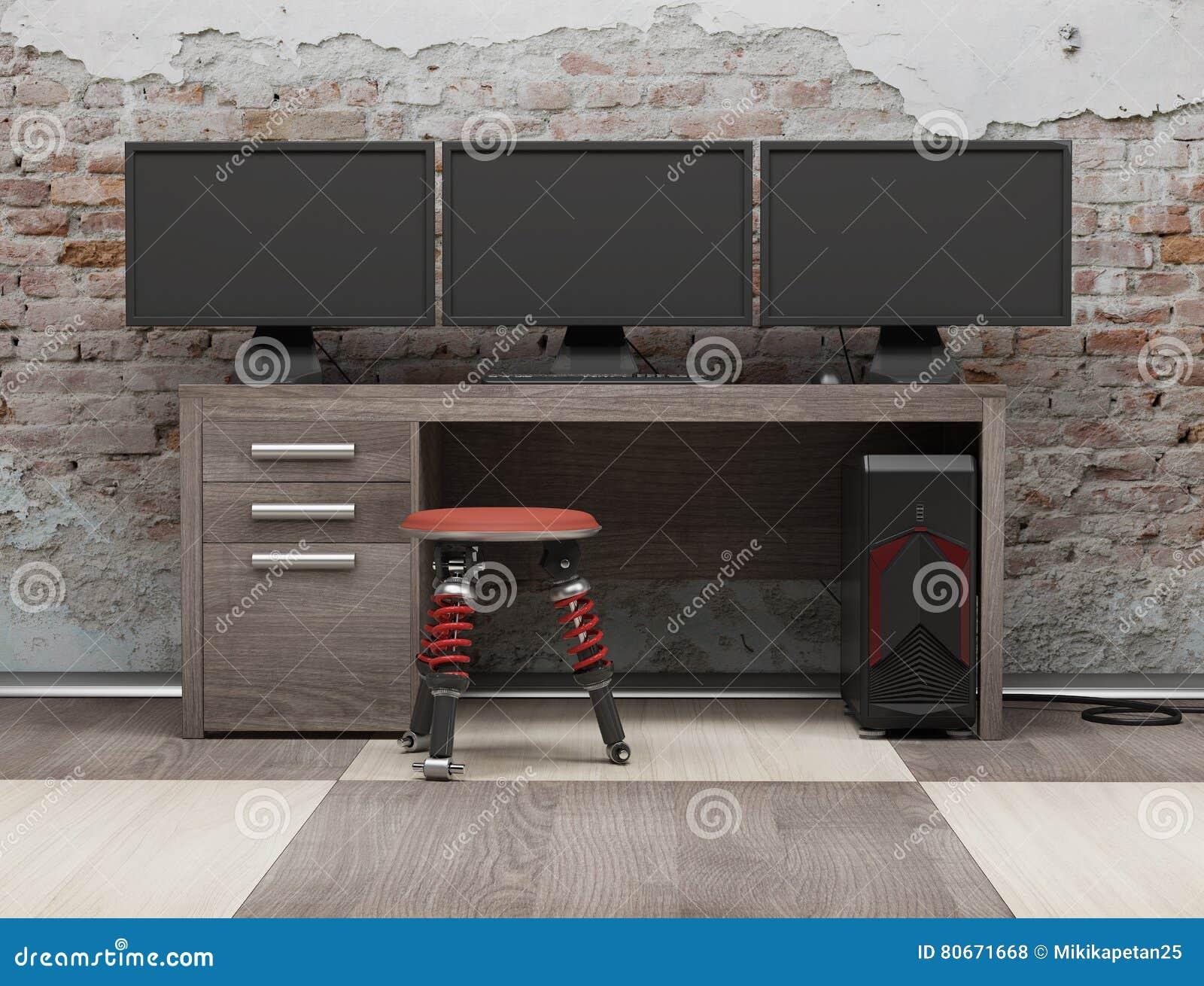 A estação de trabalho 3d do computador rende